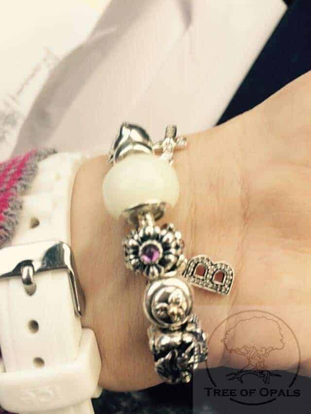 breastmilk charm on client's Pandora bracelet