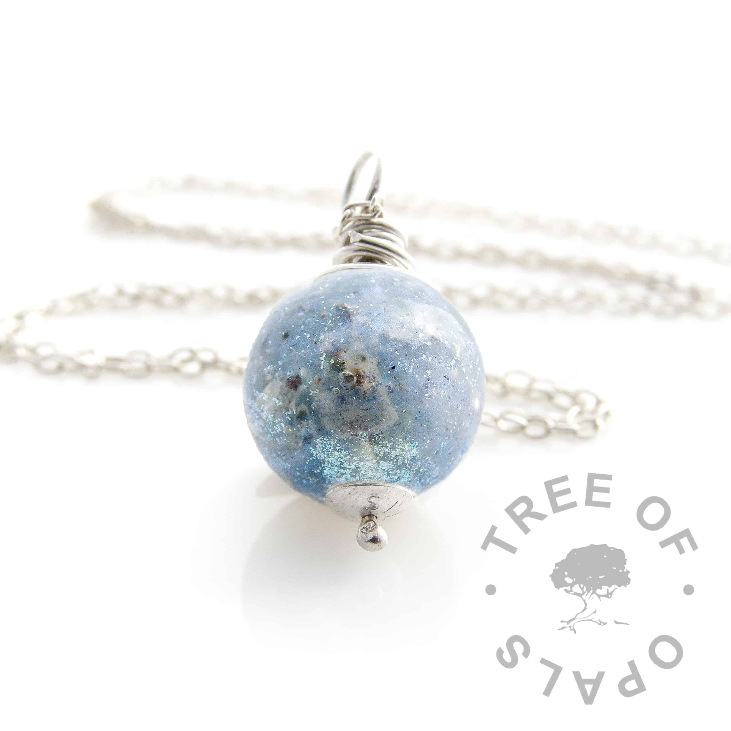 azure shimmer cremation ash pearl necklace wire wrapped Tree of Opals memorial