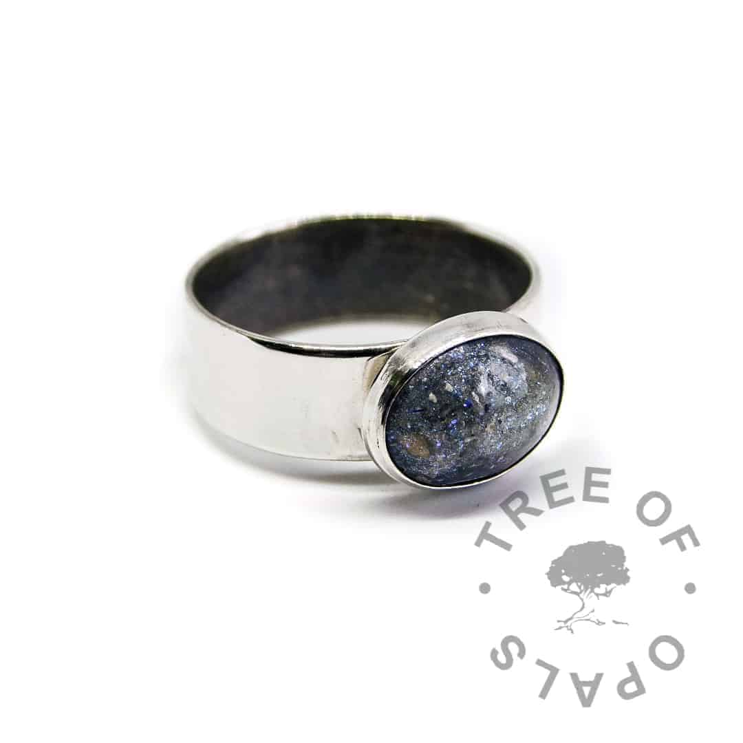 aegean blue ash ring on 6mm shiny ring
