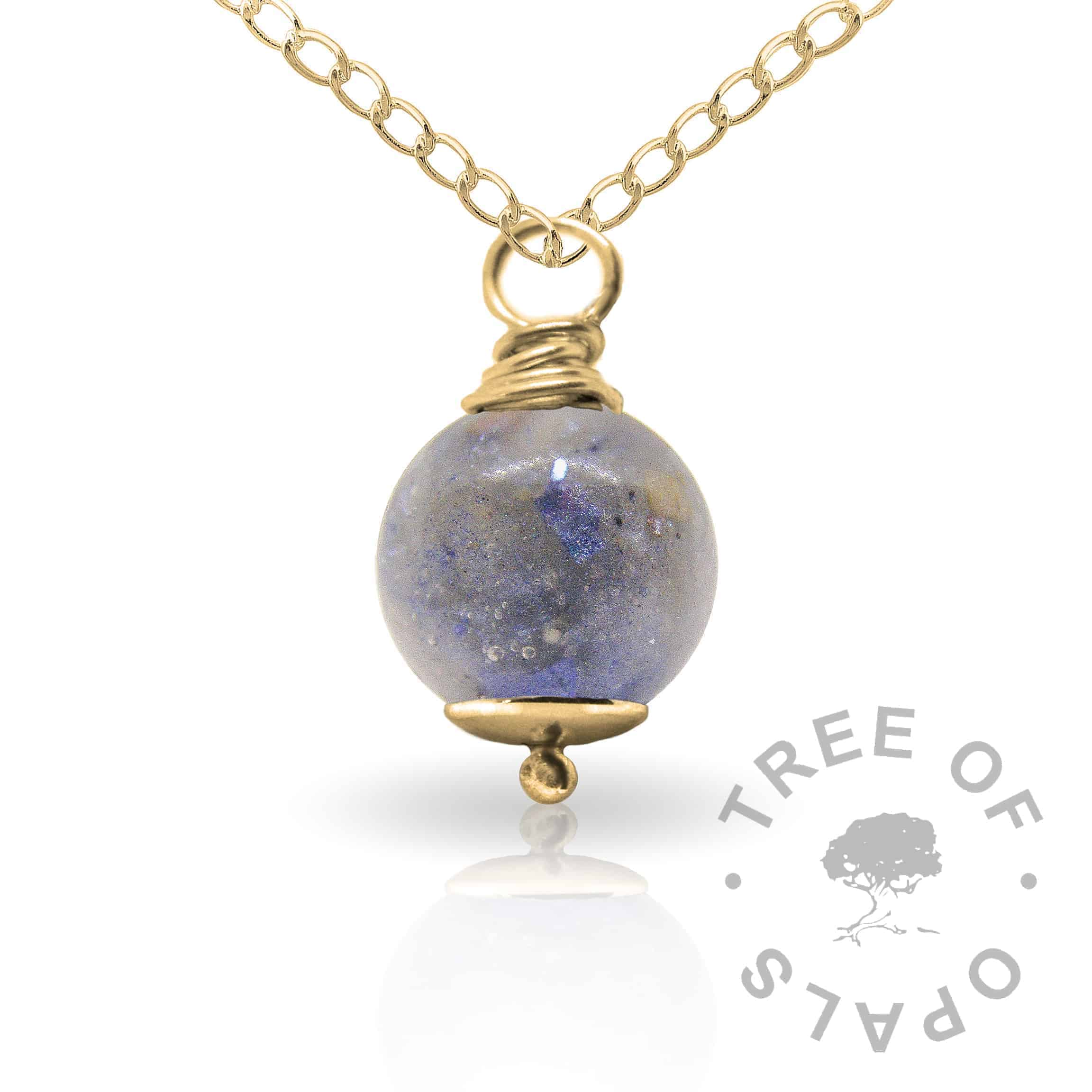aegean blue gold cremation ash pearl Tree of Opals memorial jewellery