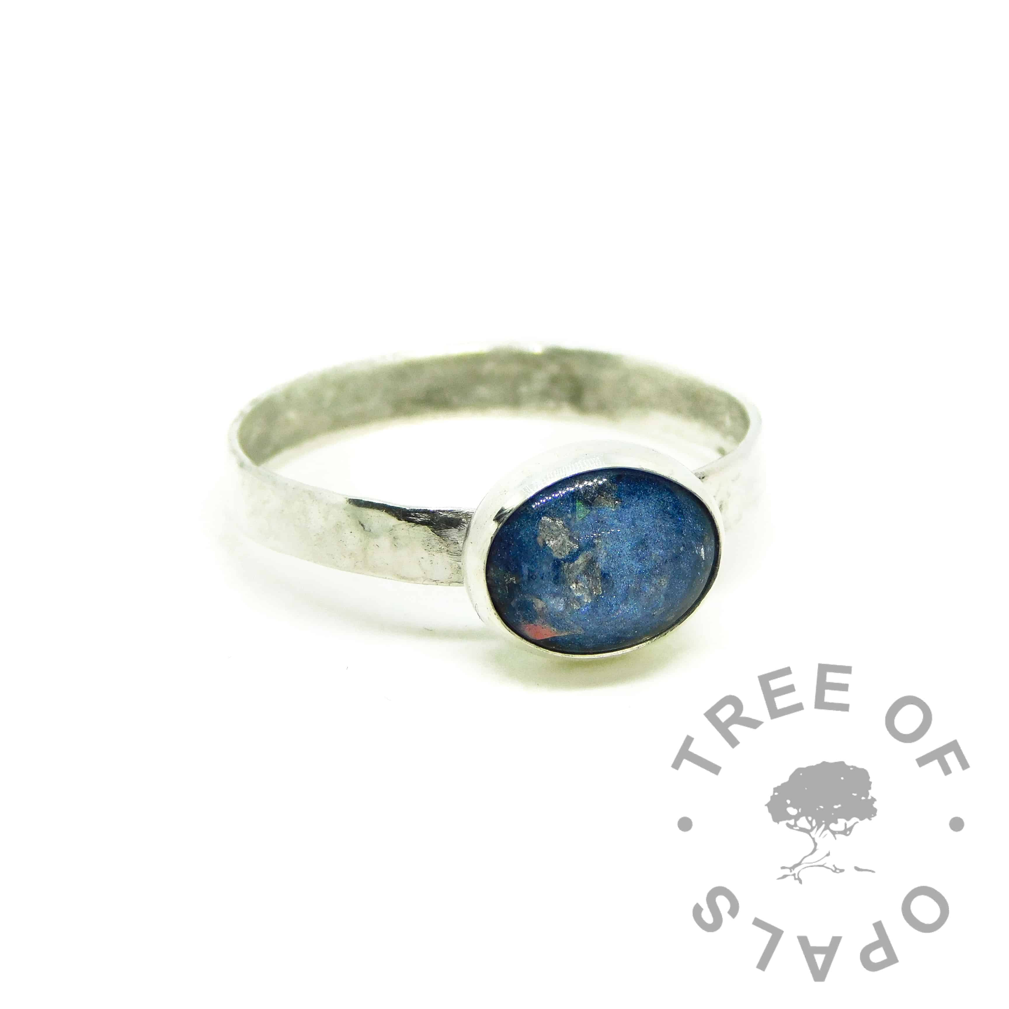 Aegean blue cremation ashes ring with textured band, Argentium sterling silver 935