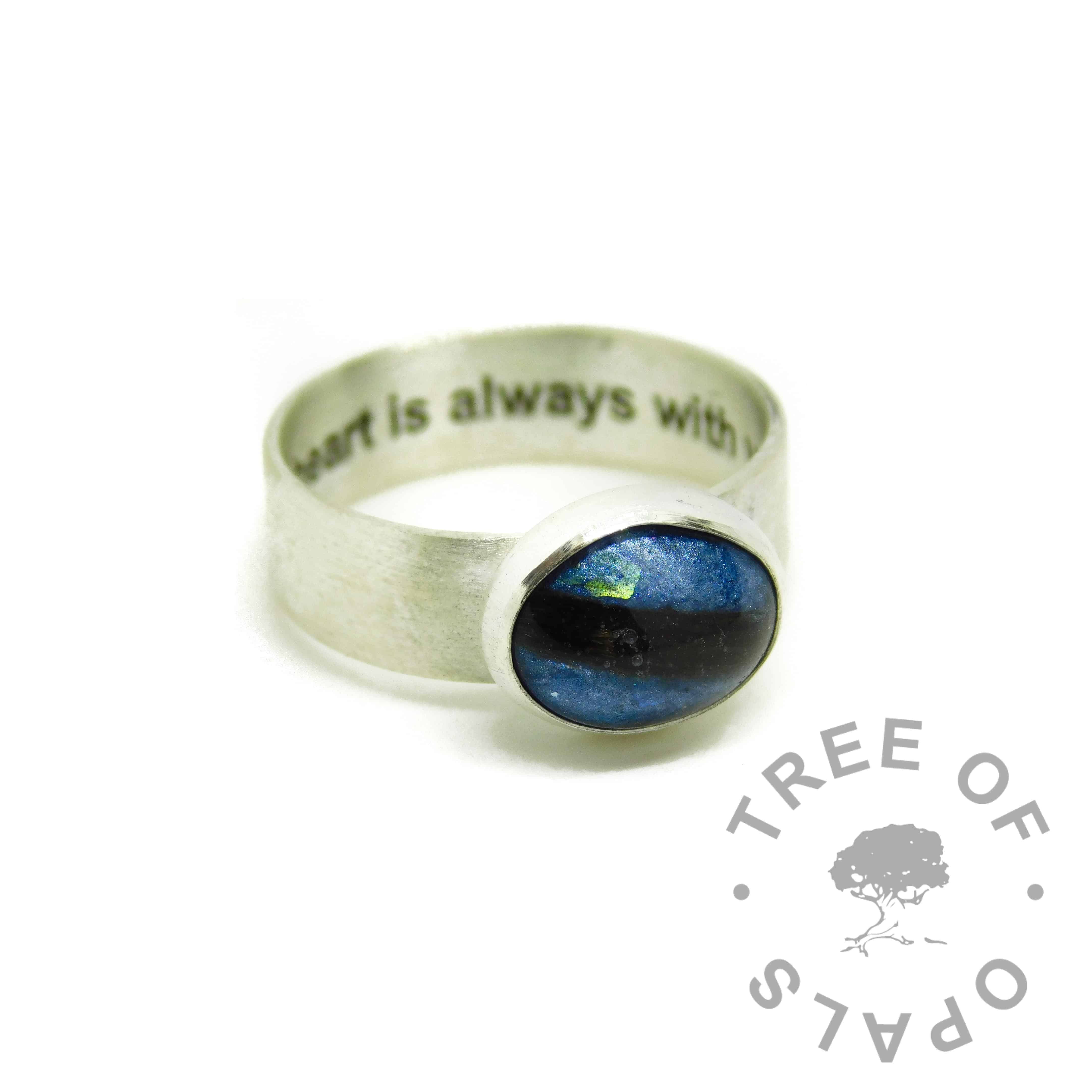 aegean blue resin sparkle mix and hair ring, 6mm shiny band engraved inside with arial font