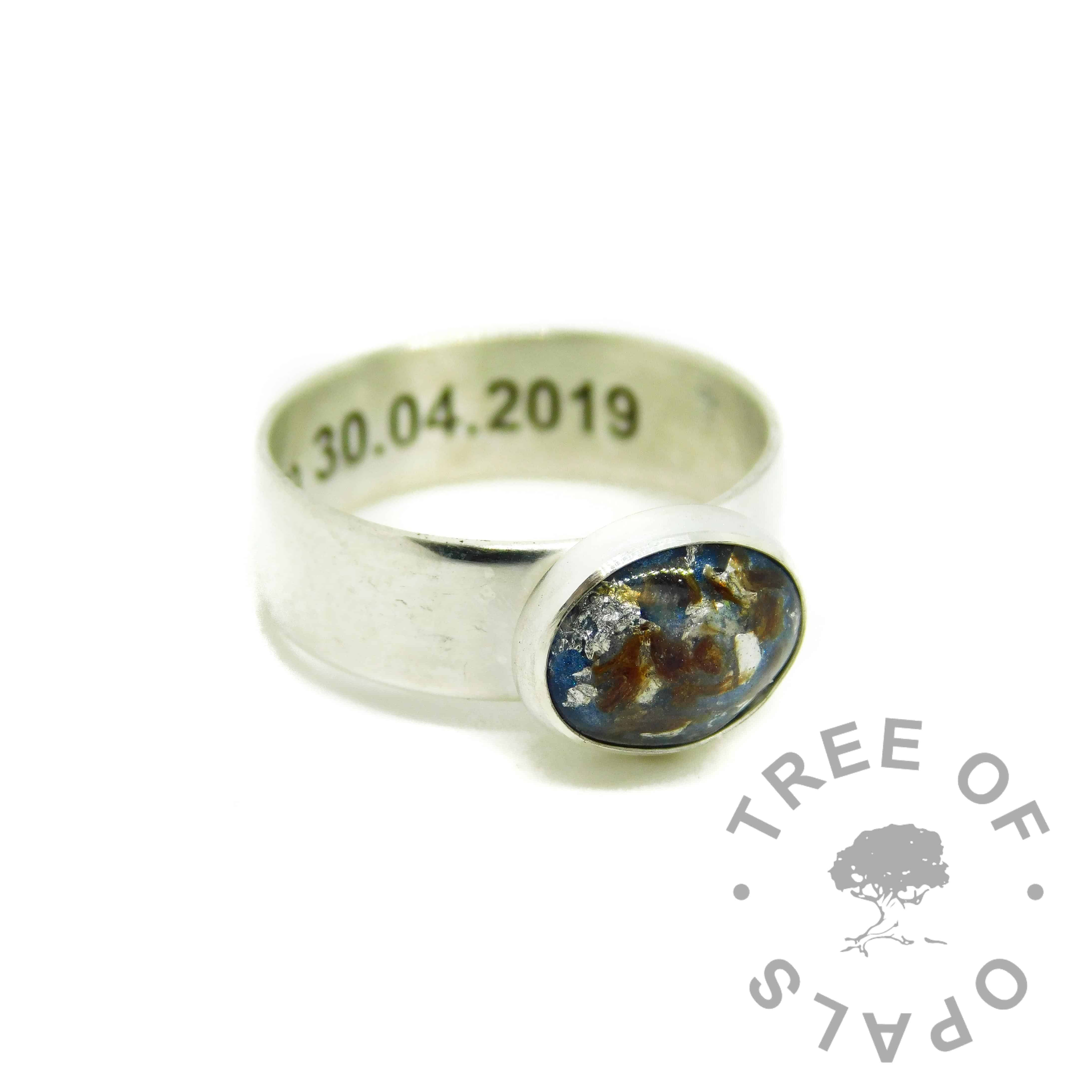 umbilical cord ring aegean blue resin sparkle mix and silver leaf, 6mm wide shiny engraved band