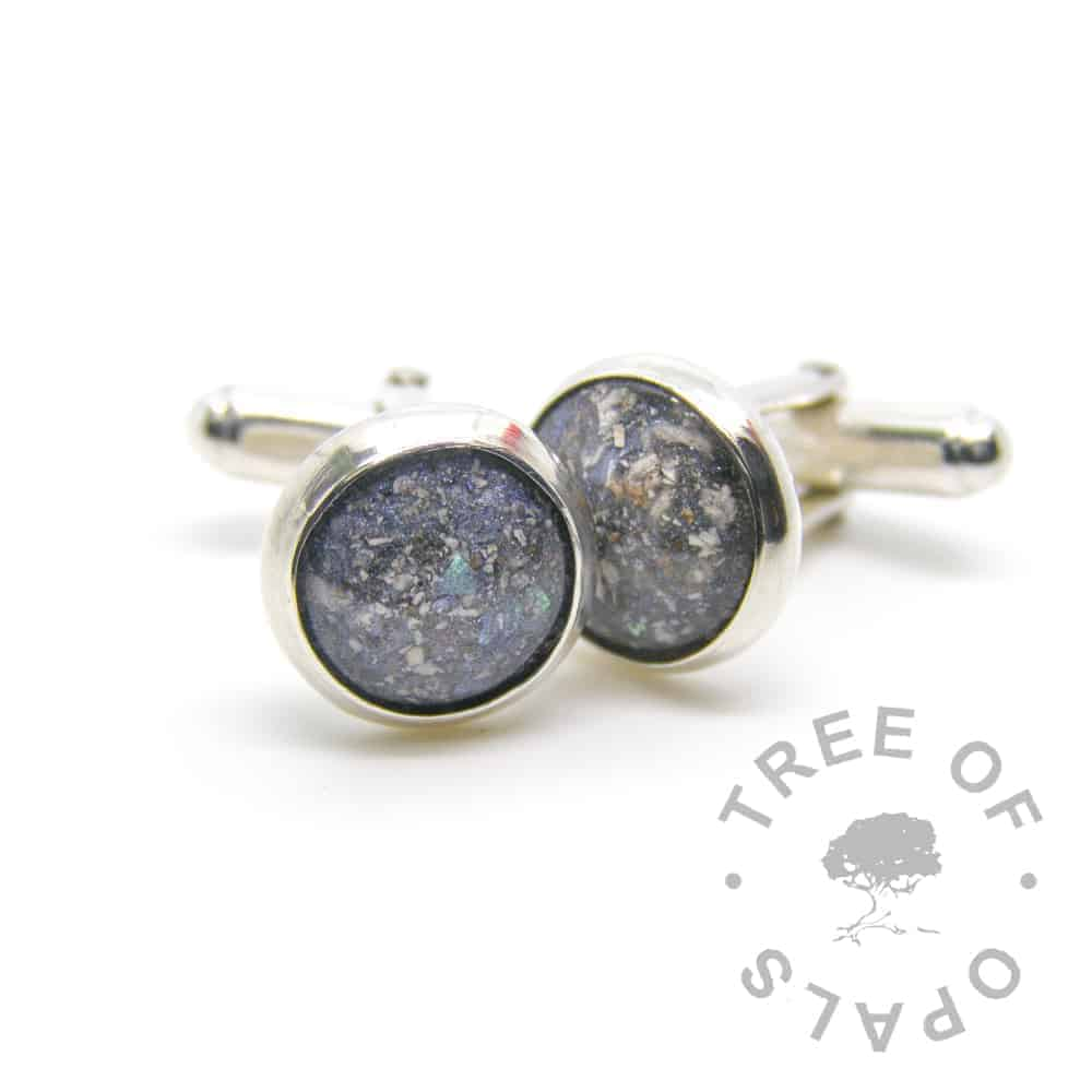 cremation ash cufflinks Aegean blue, 12mm wide resin cremation stone