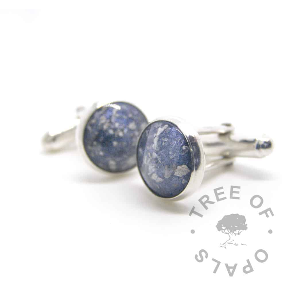 "cremation ash cufflinks aegean blue and set in solid sterling silver handmade settings. 12mm wide bezel cups and we take a photo of the ash cabochon (""stone"") before setting to check you like the colour"
