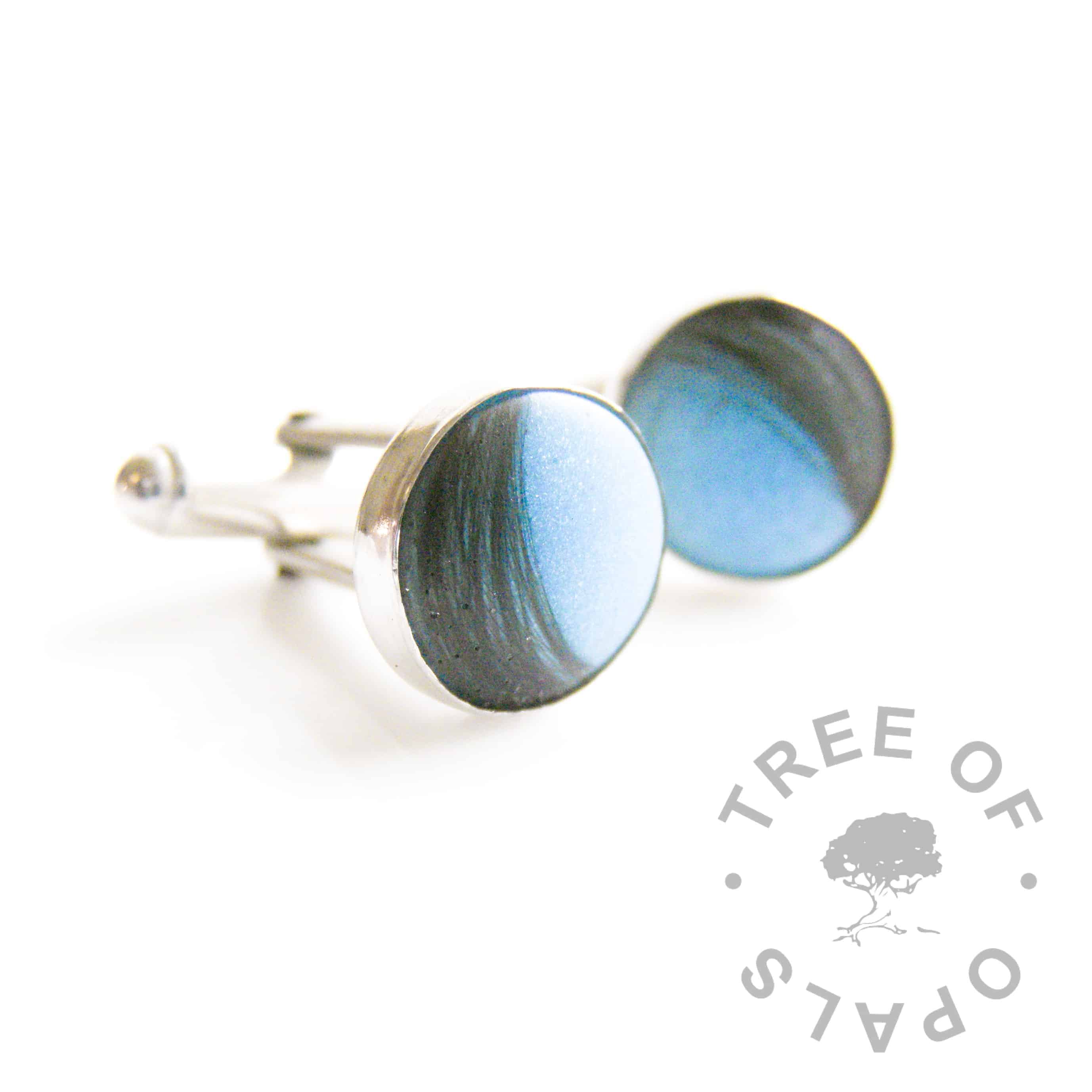 lock of hair cufflinks with blue shimmer resin and matte finish