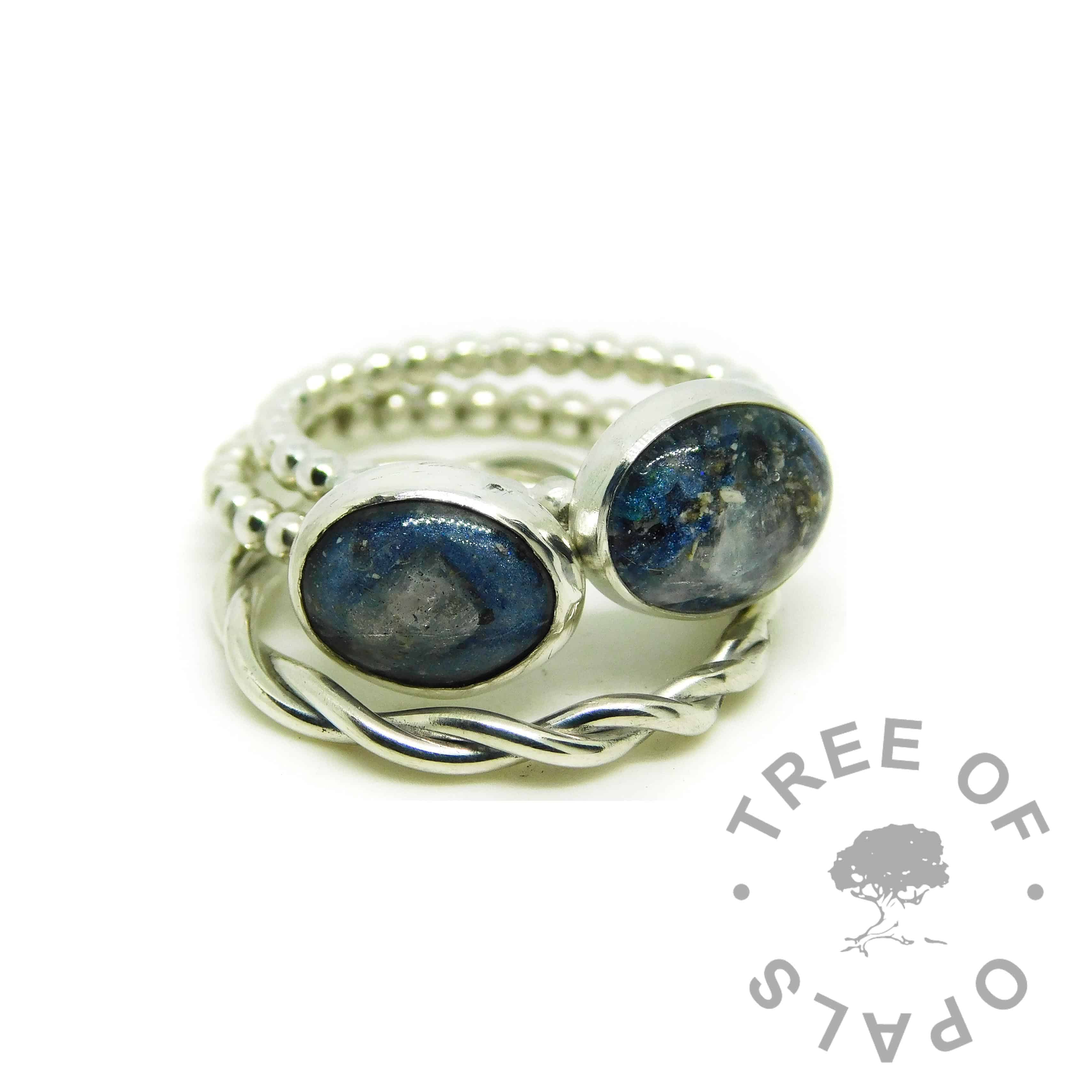 ash rings with Aegean blue resin sparkle mix and moonstone June birthstone. Family order two rings, stacking ring