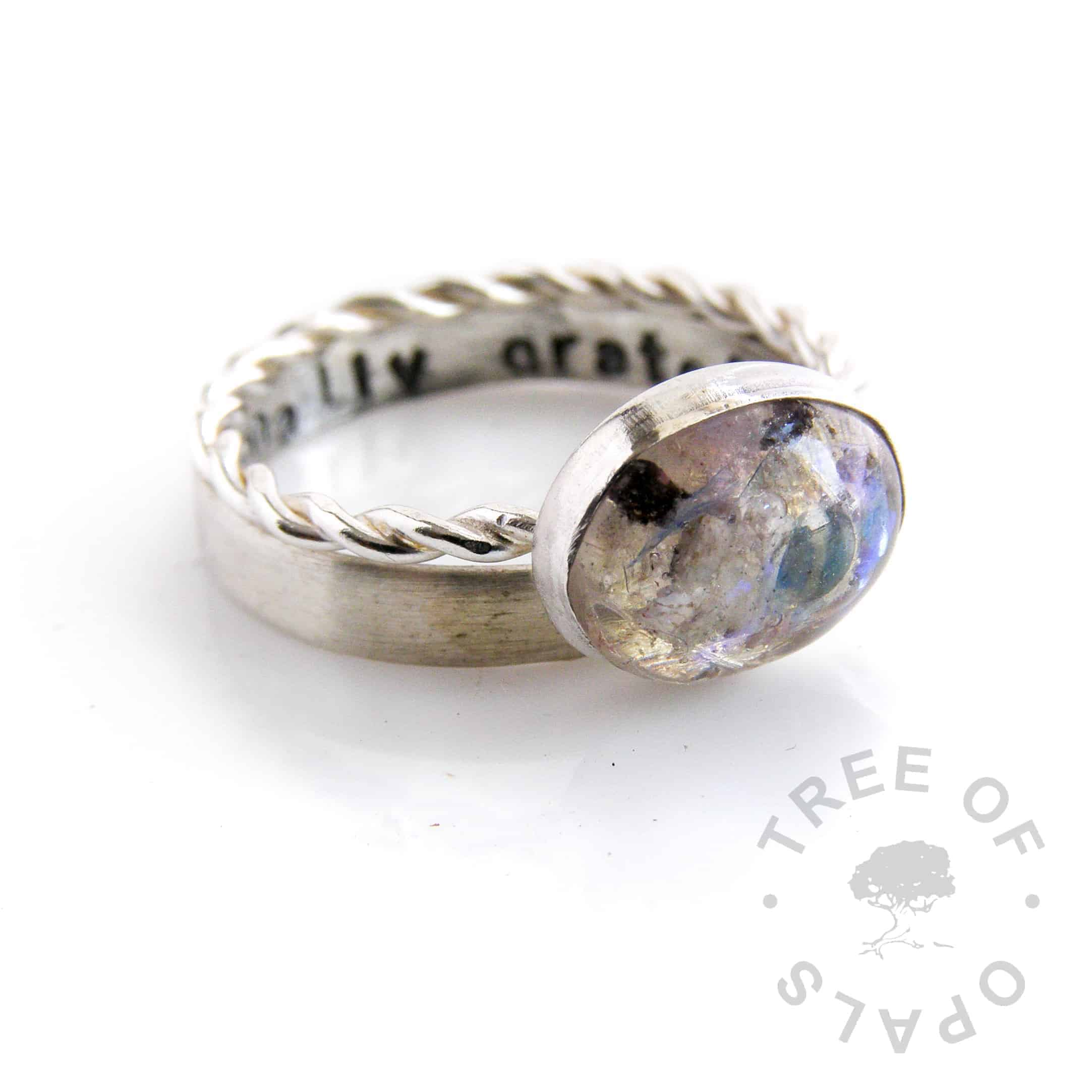 cremation ash ring stack with oval twisted band (retired) cremains ring including blue opalescent flakes and a stamped 3mm stacking ring
