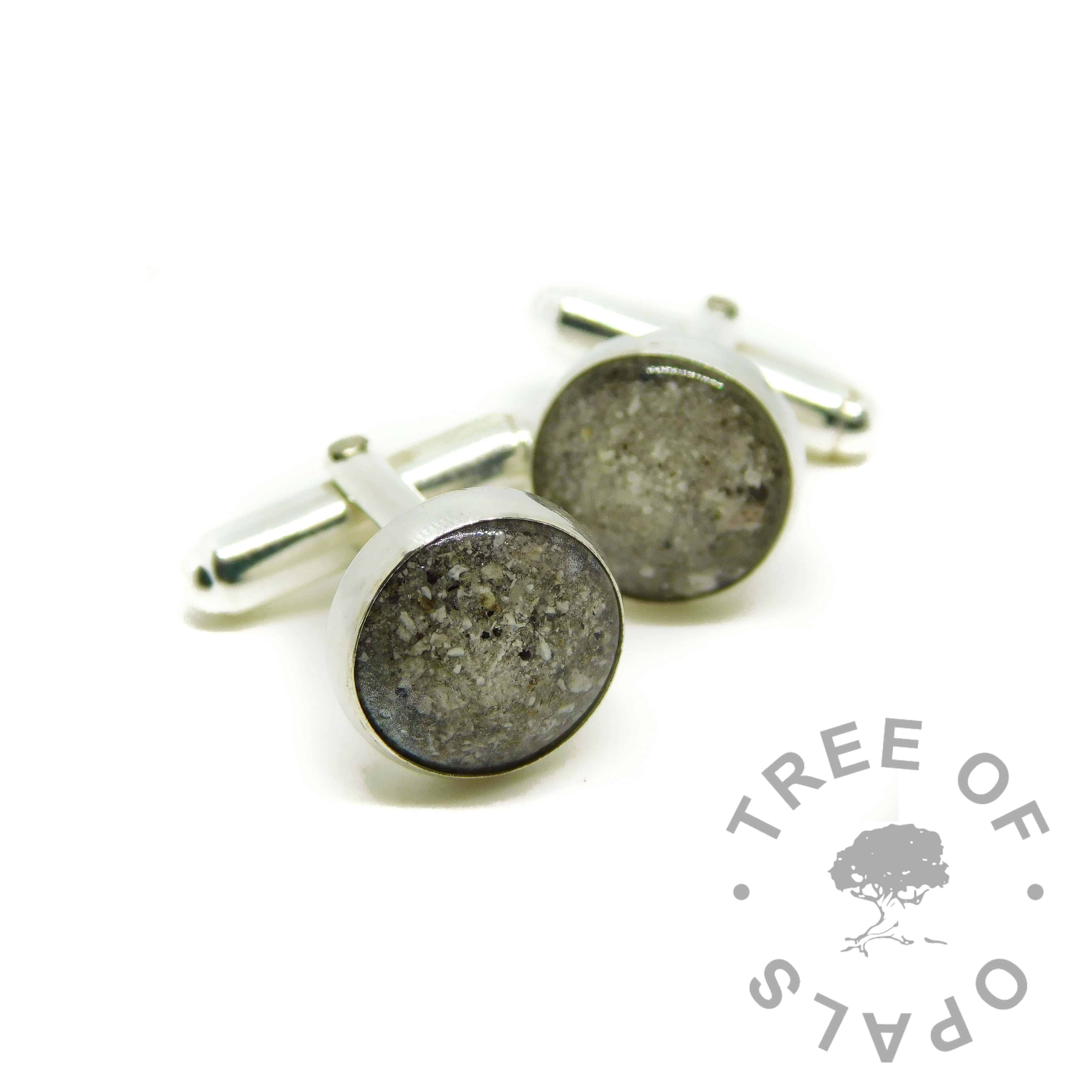 diamond powder April birthstone and cremation ashes cufflinks. 12mm solid sterling silver setting