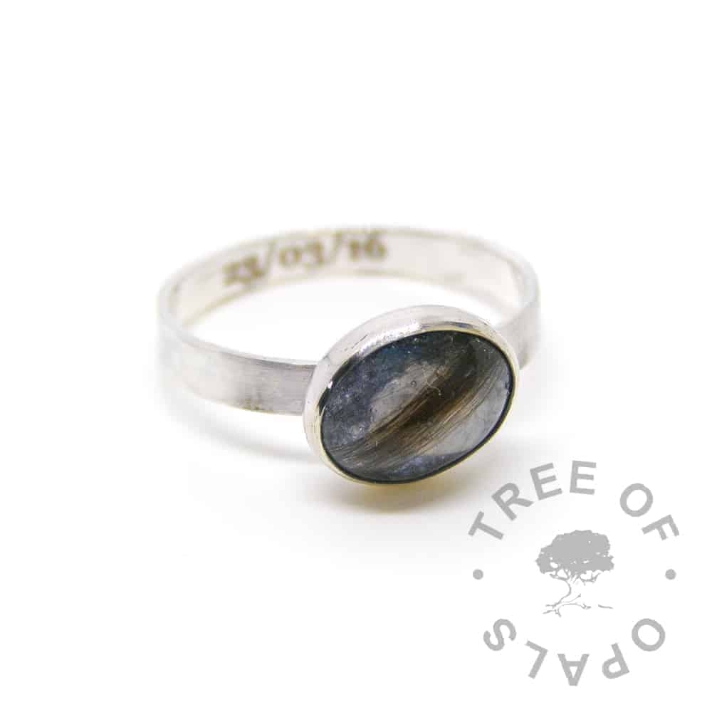 "memorial ring, brown hair and mermaid teal sparkles and March birthstone aquamarine, on a brushed 3mm wide solid sterling silver band engraved inside with a date of birth and 10x8mm cabochon ""stone"" Tree of Opals"
