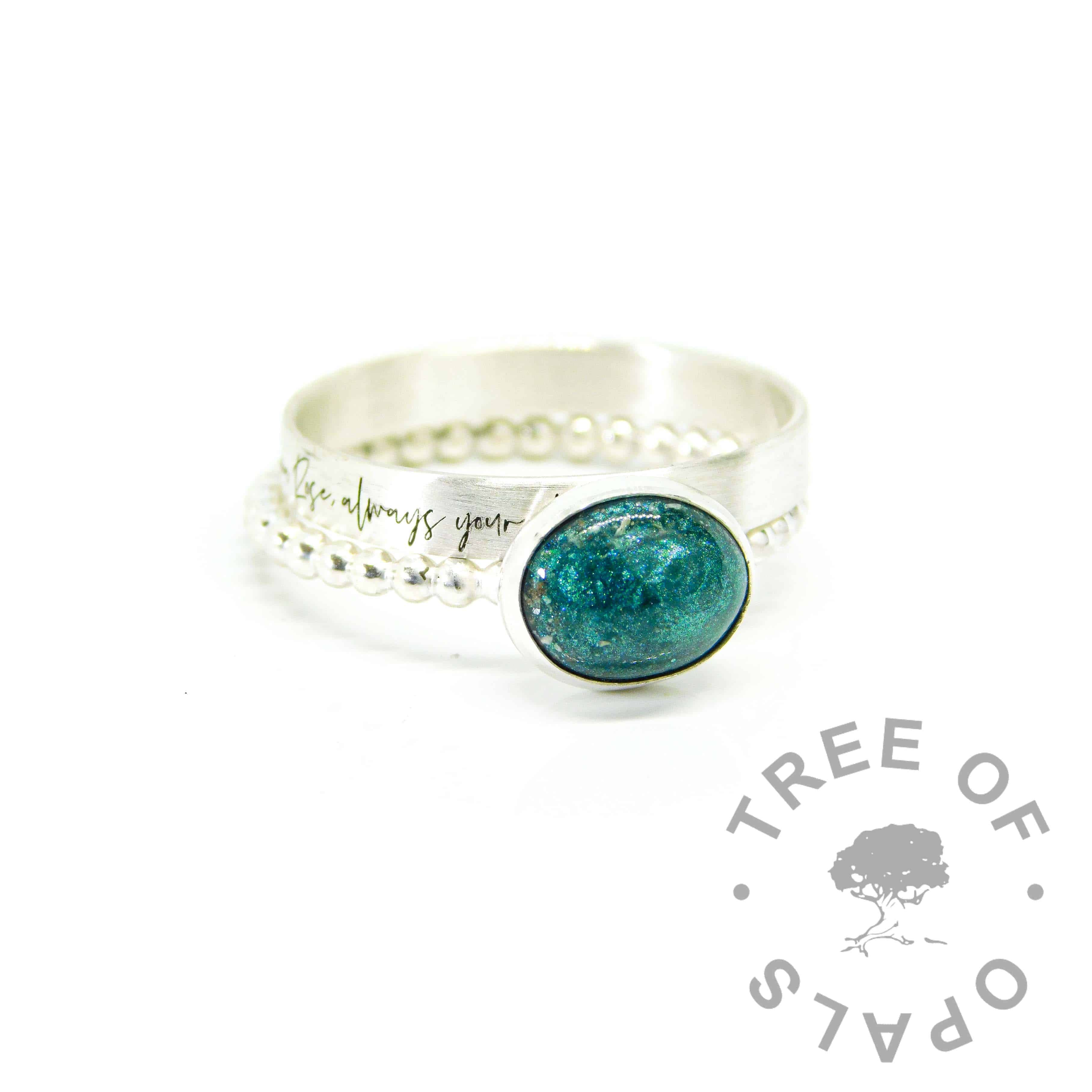 silver south script brushed ring, 3mm wide brushed stacking band. Ashes ring on bubble band with mermaid teal resin sparkle mix