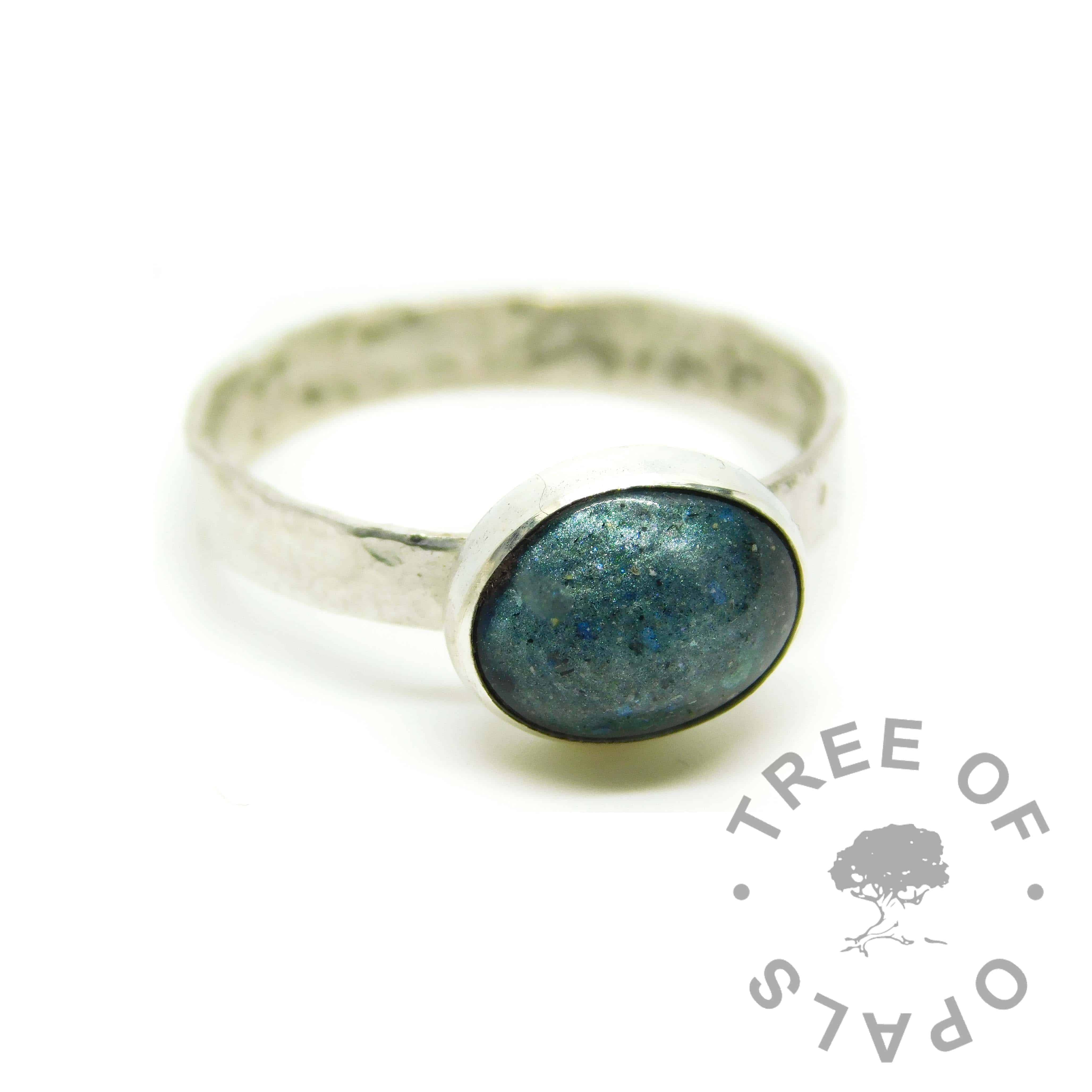 cremation ash ring textured band, mermaid teal resin sparkle mix