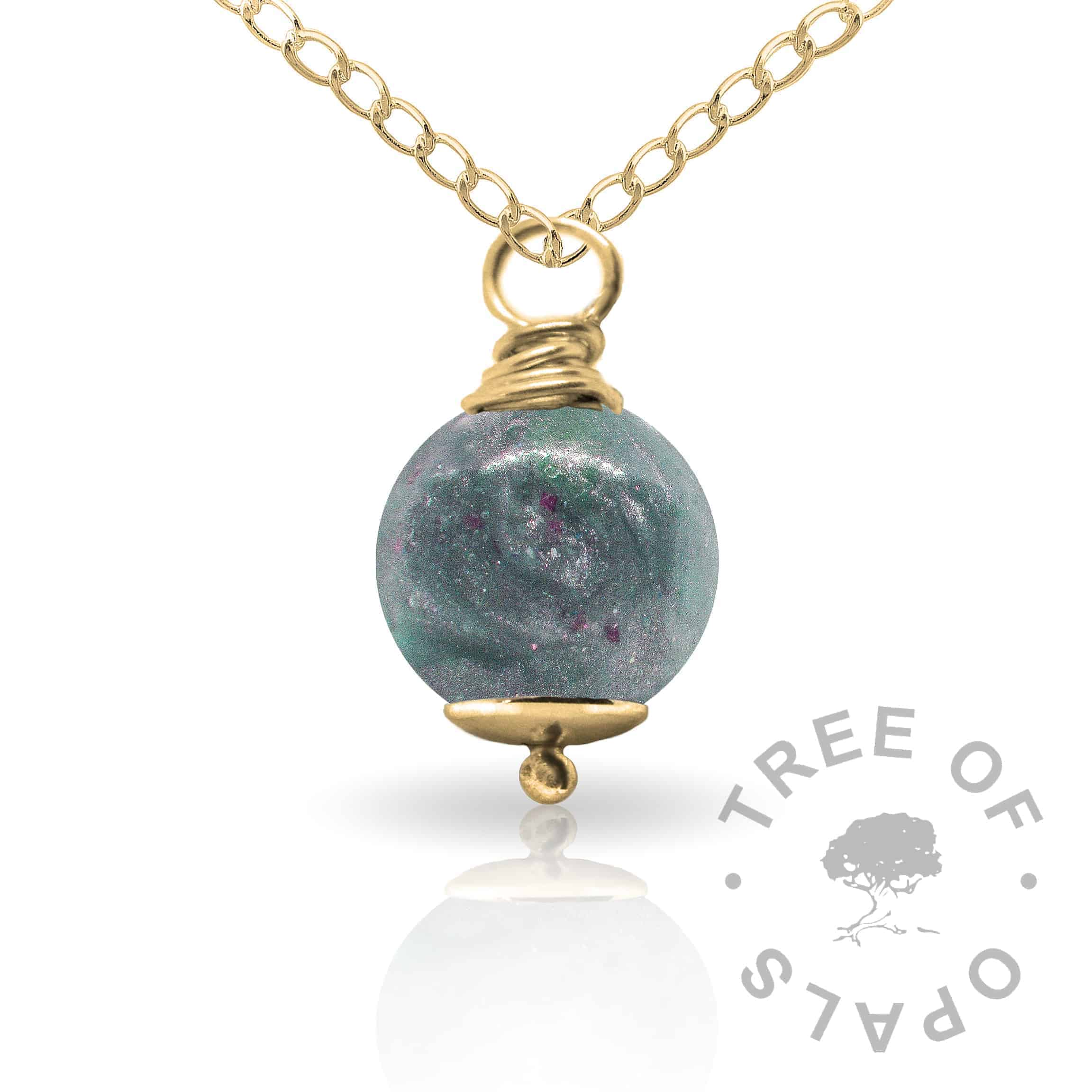 aztec teal gold cremation ash pearl Tree of Opals memorial jewellery