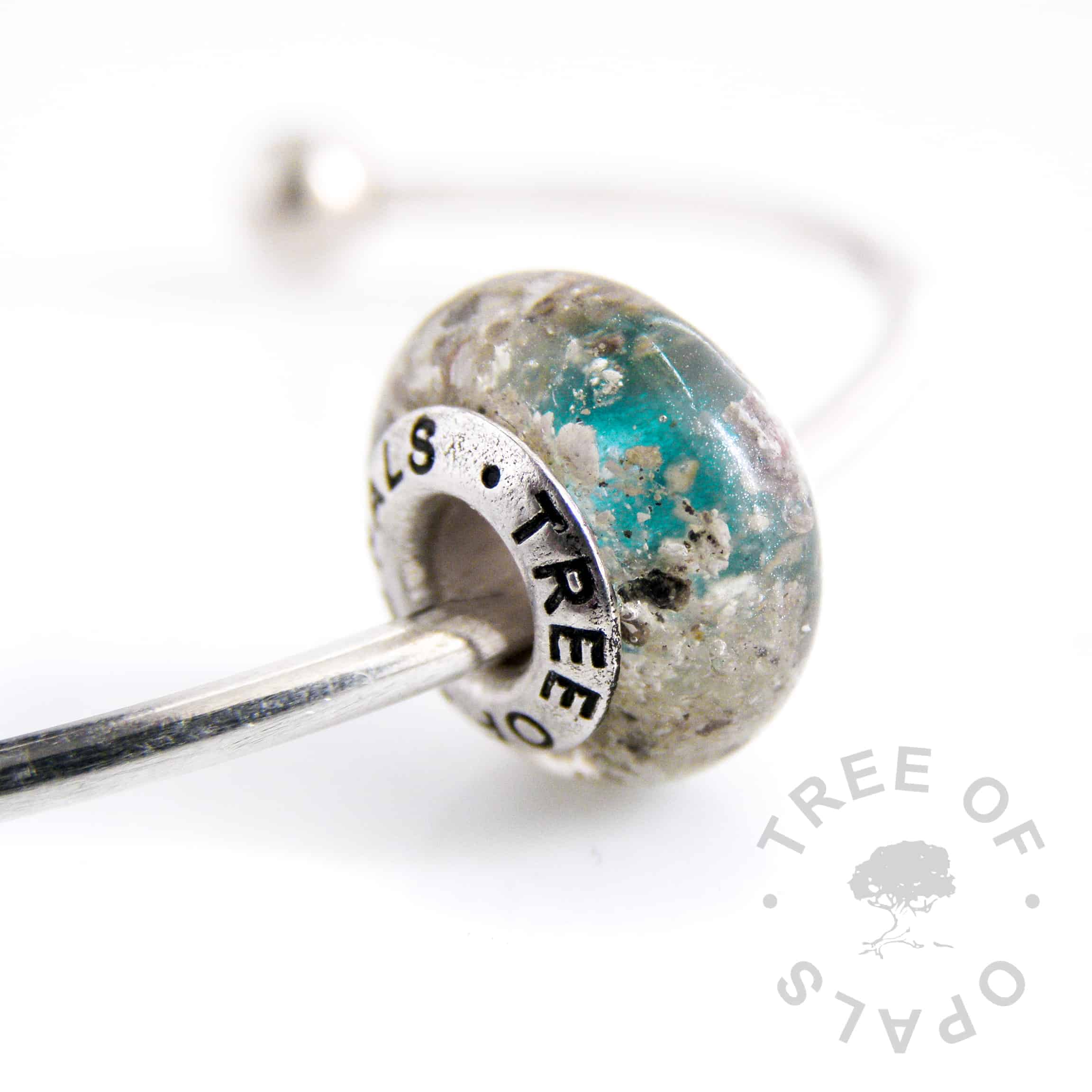 cremation ash charm teal shimmer painted core