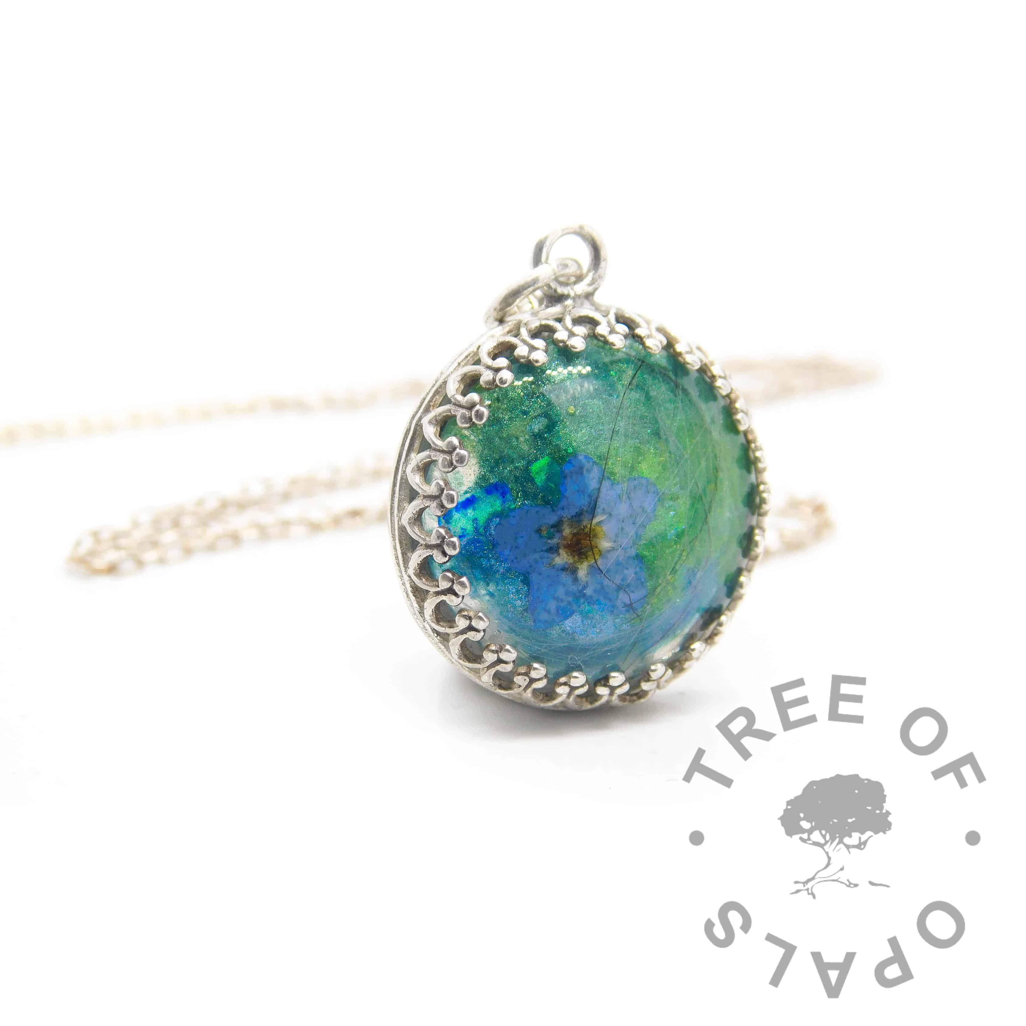 Mystery piece example, forget me not hair necklace, green blue and teal resin sparkle mixes swirled together