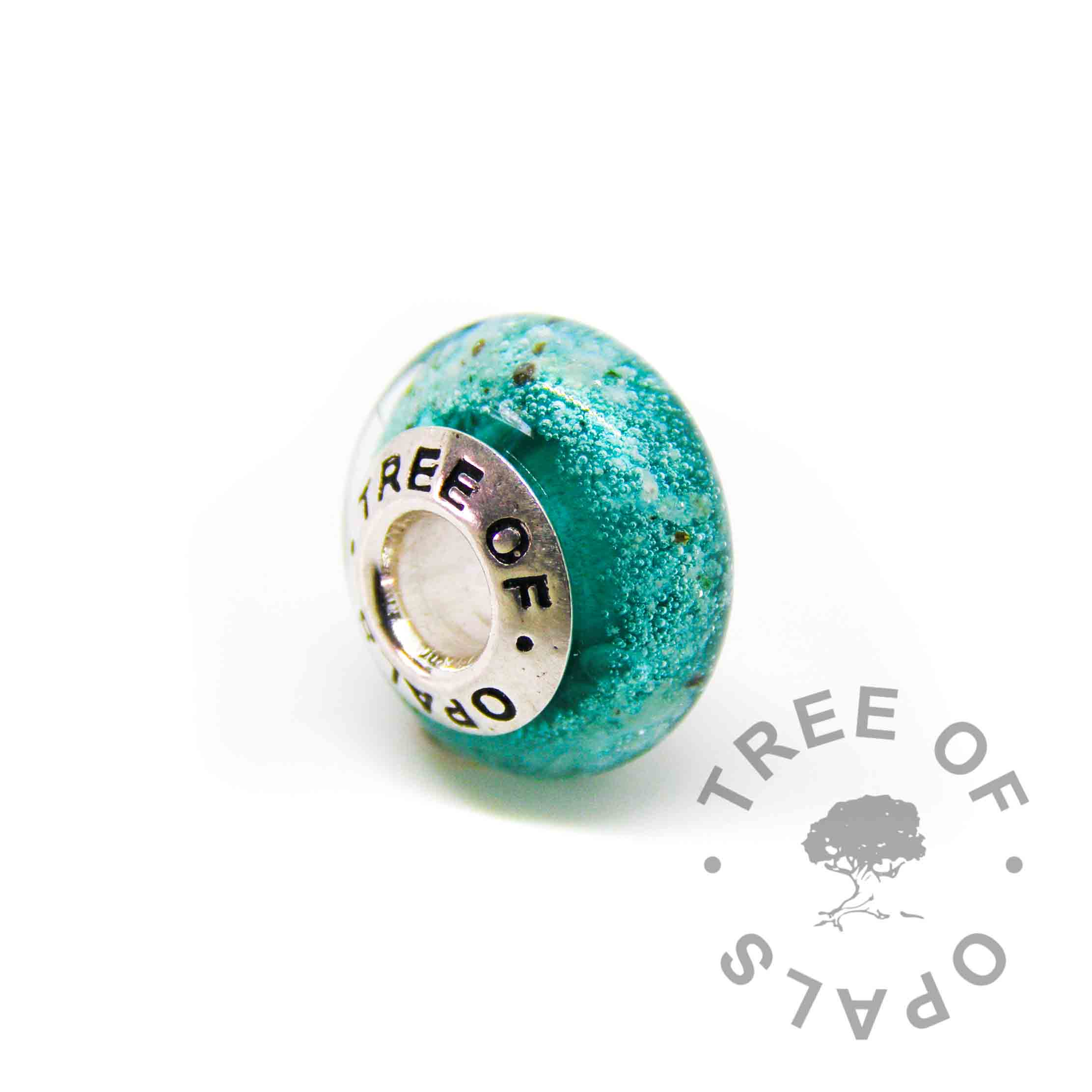 glass cremation charm with ashes and teal glass - for Pandora bracelets and solid sterling silver Tree of Opals core