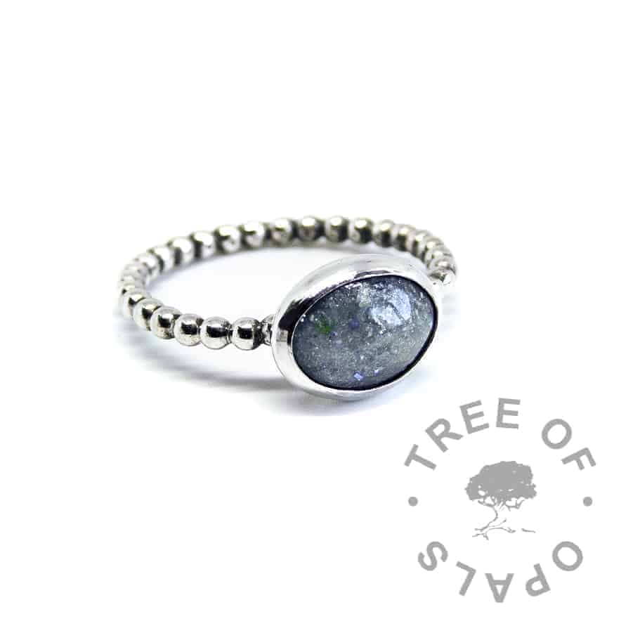 mermaid teal ash ring on bubble wire band