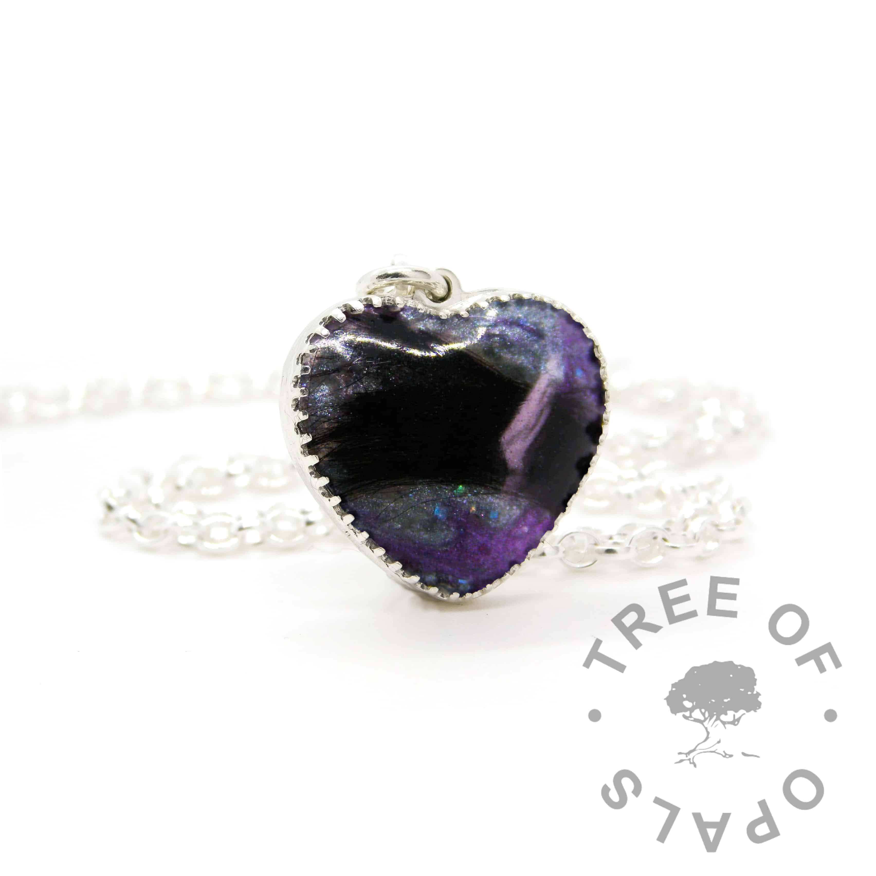 New style heart necklace setting with scalloped edge. Orchid purple and mermaid teal resin sparkle mix, lock of hair, shown with a medium classic chain upgrade (mockup of new setting)