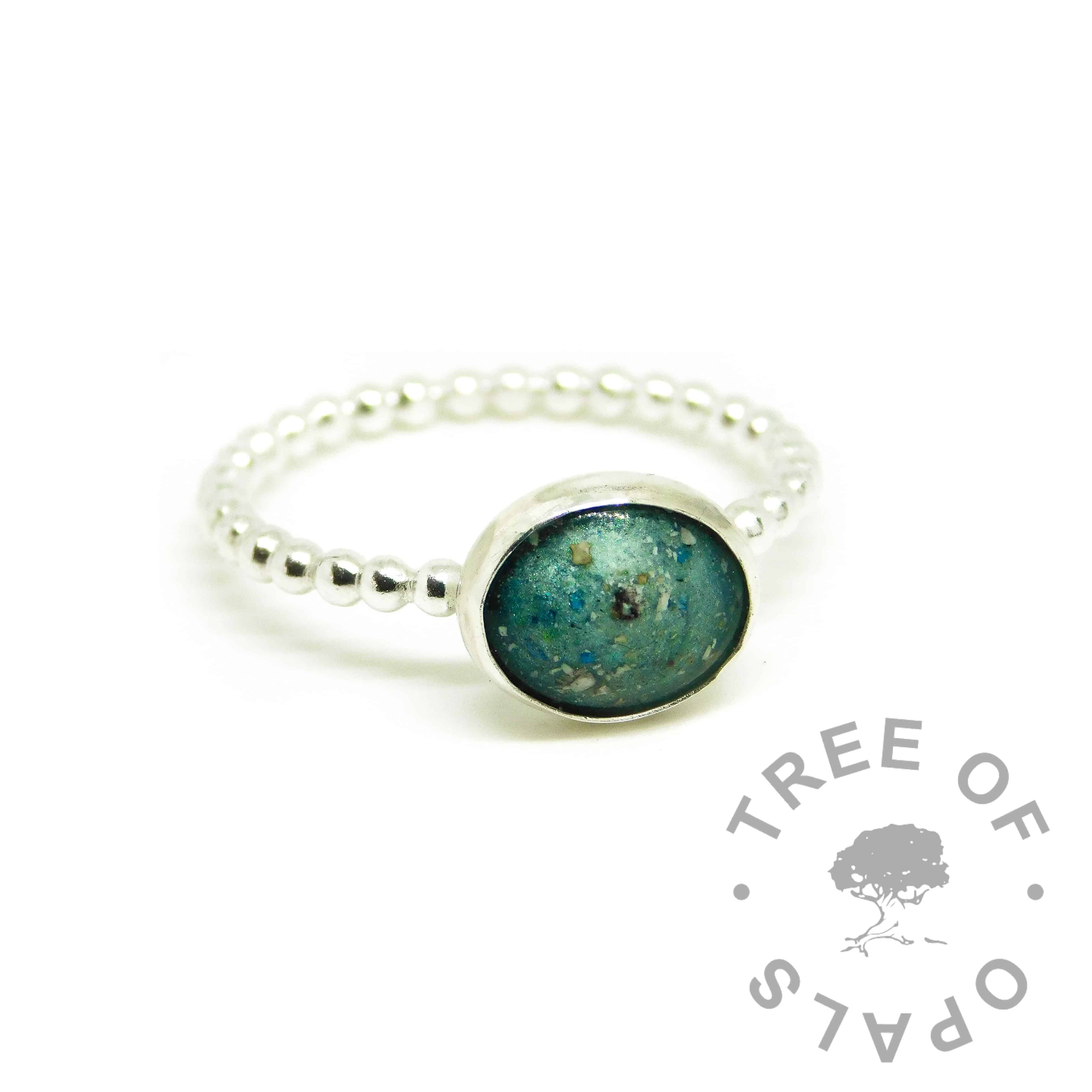 teal ashes ring, mermaid teal resin sparkle mix, bubble wire Argentium silver band