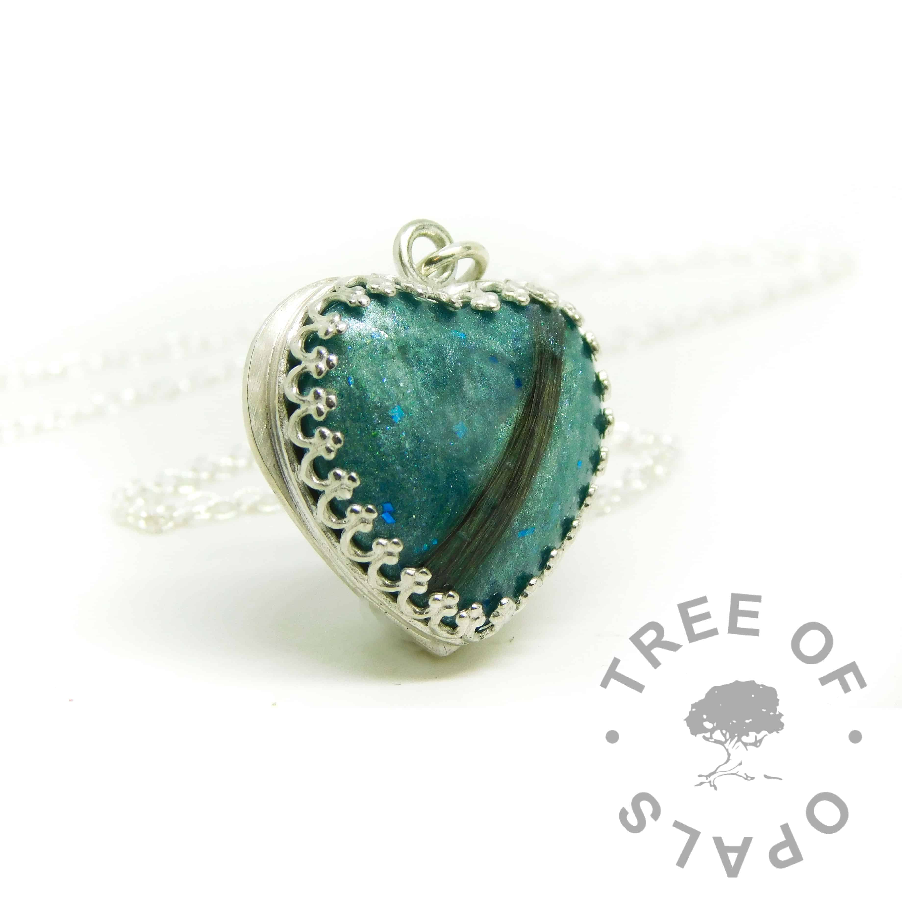 Mermaid Teal resin sparkle mix lock of hair heart necklace