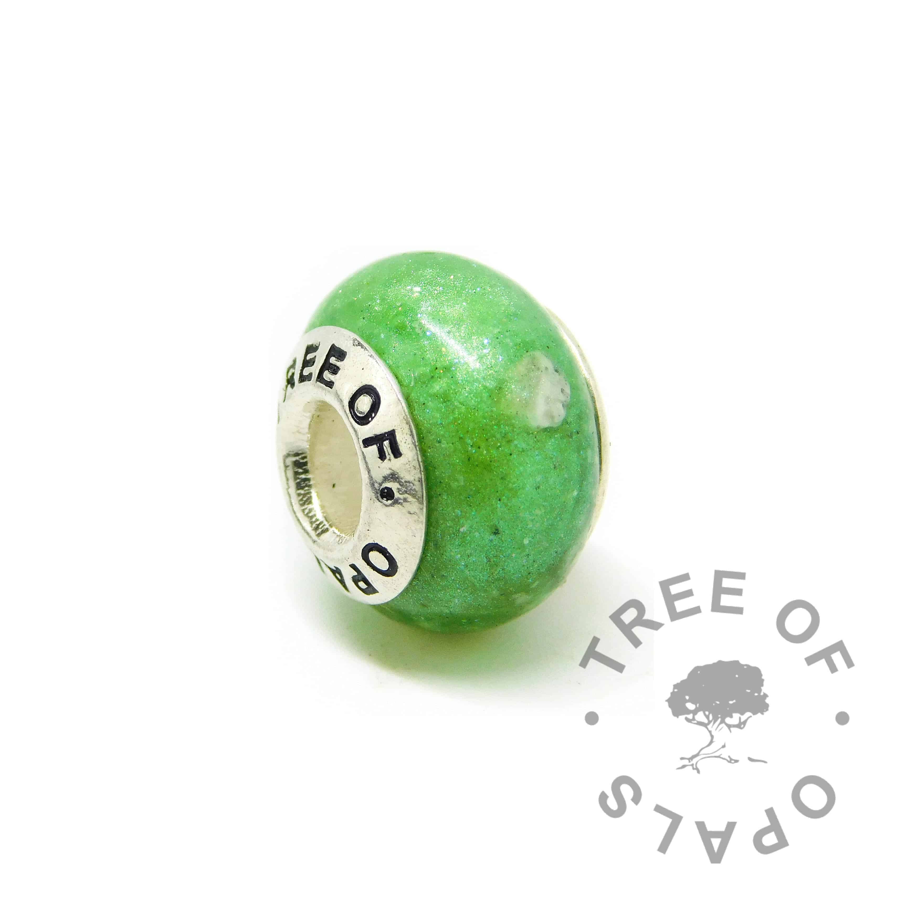 basilisk green sparkles ashes charm, cremation ash, no birthstone
