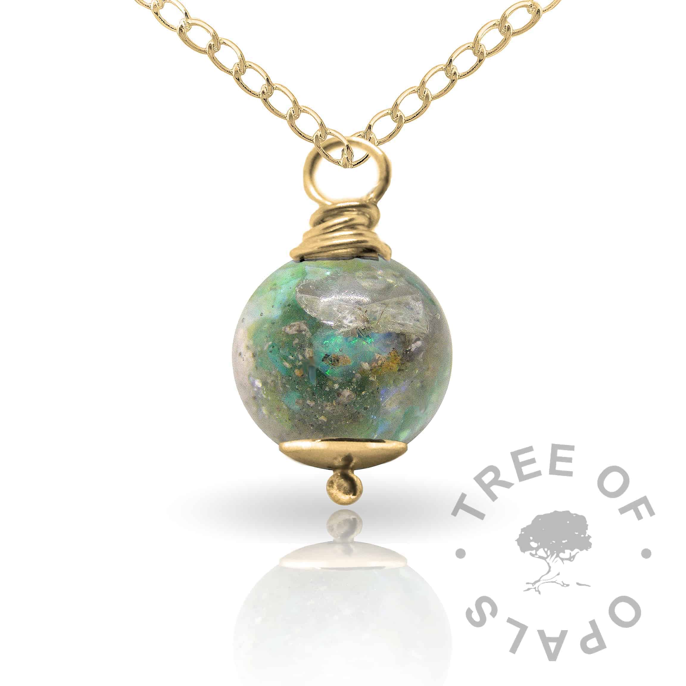 basilisk green gold cremation ash pearl Tree of Opals memorial jewellery