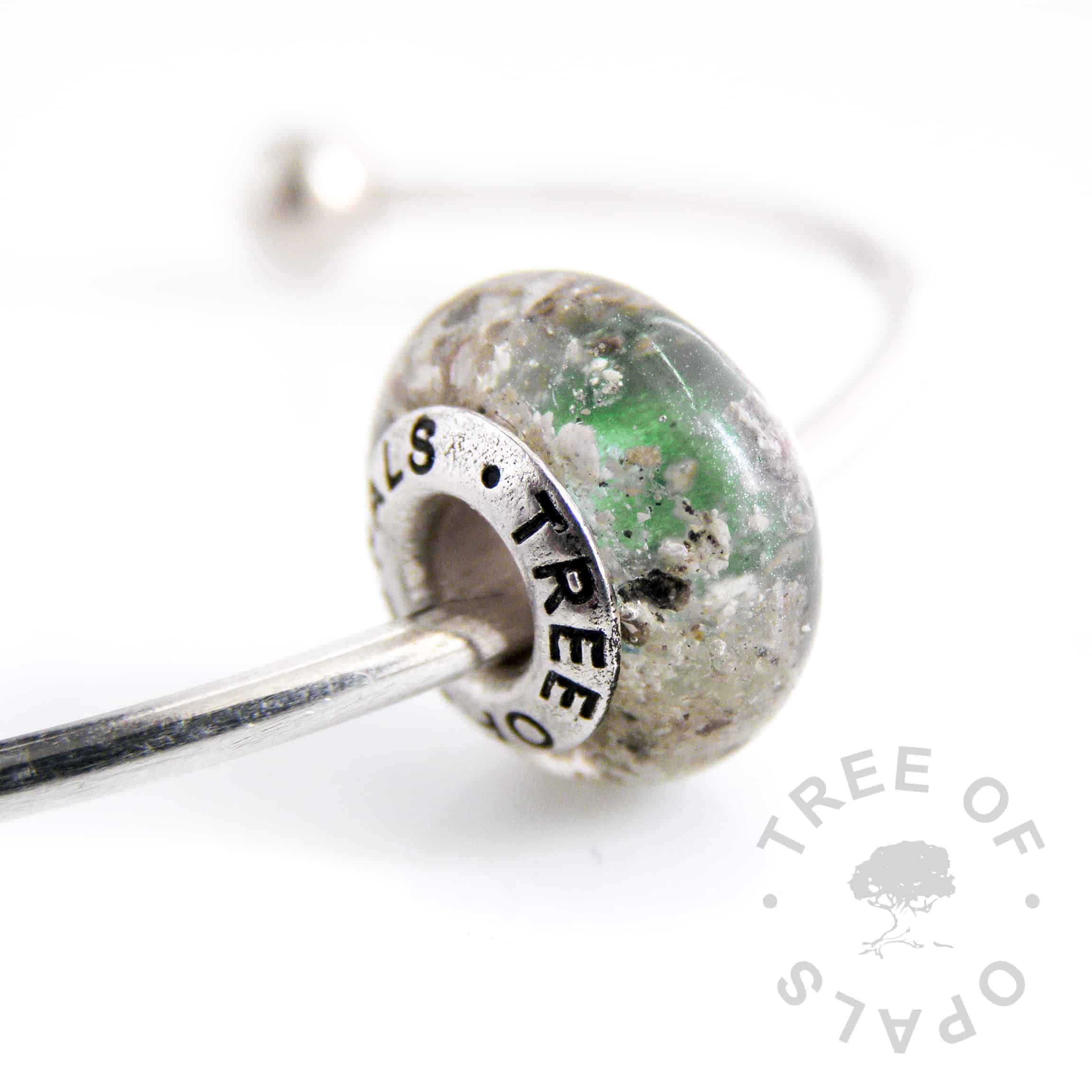 cremation ash charm green shimmer painted core