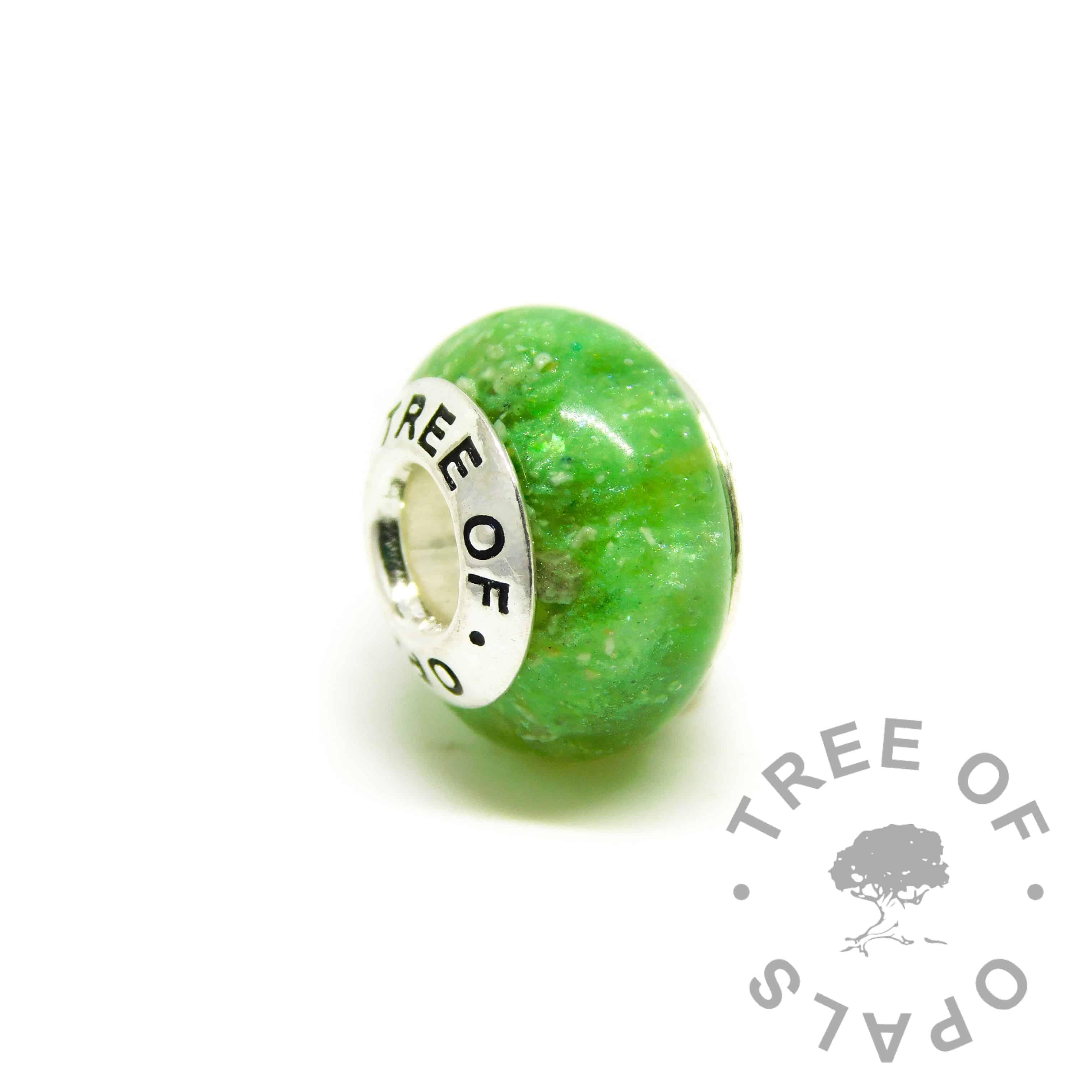 green ashes charm. Basilisk green resin sparkle mix