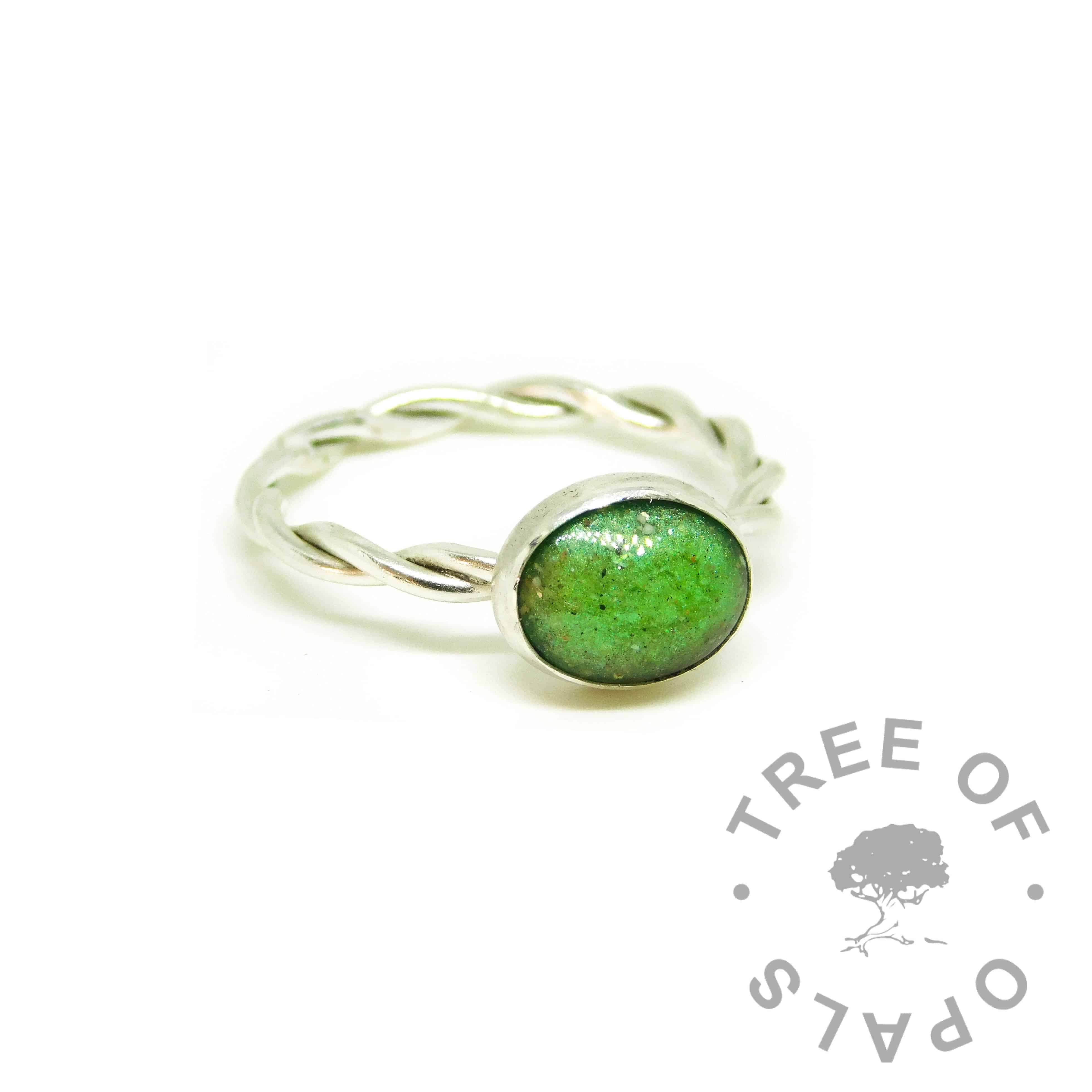 green ashes ring, basilisk green resin sparkle mix, twisted wire Argentium silver band