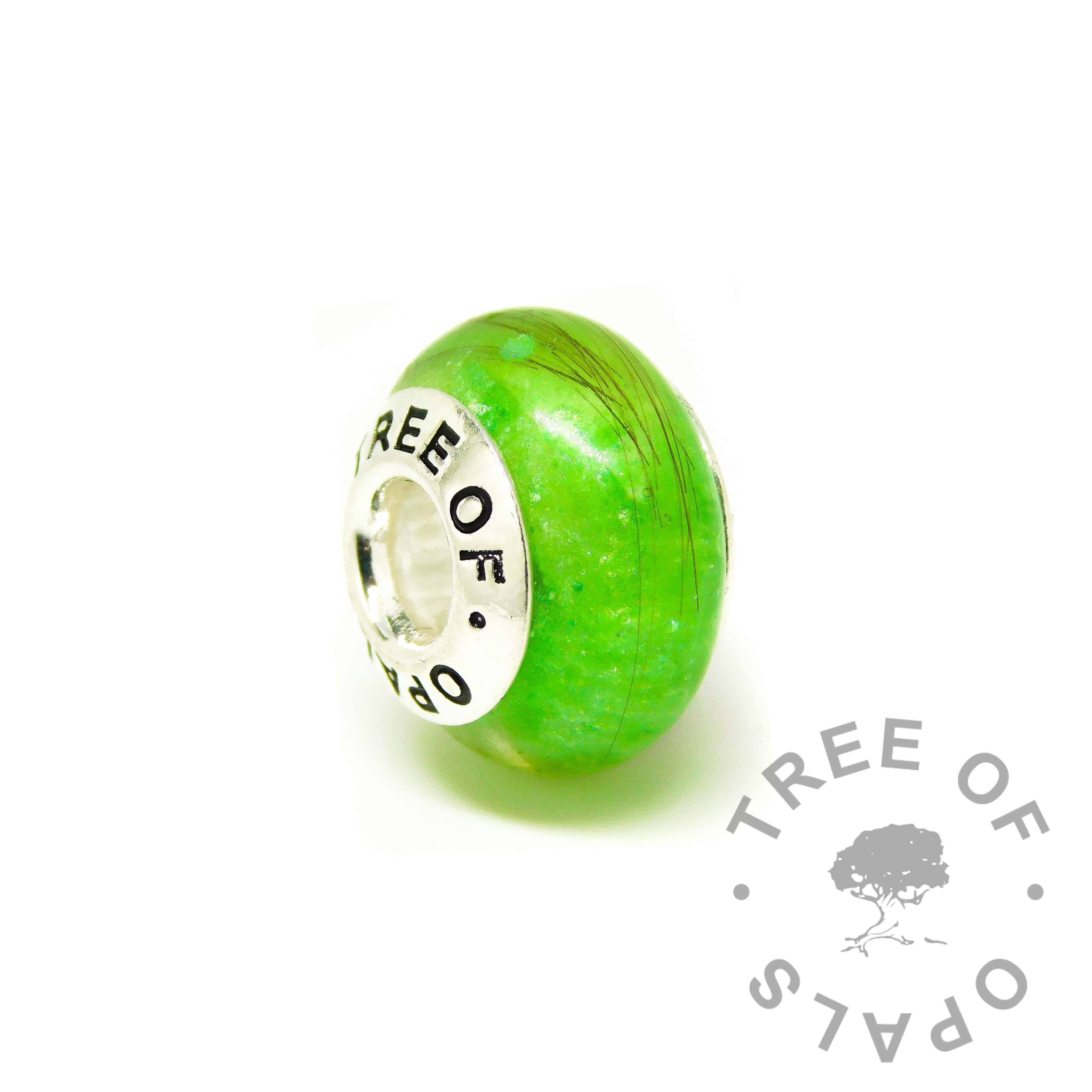 green hair charm bead for Pandora bracelets, basilisk green resin sparkle mix