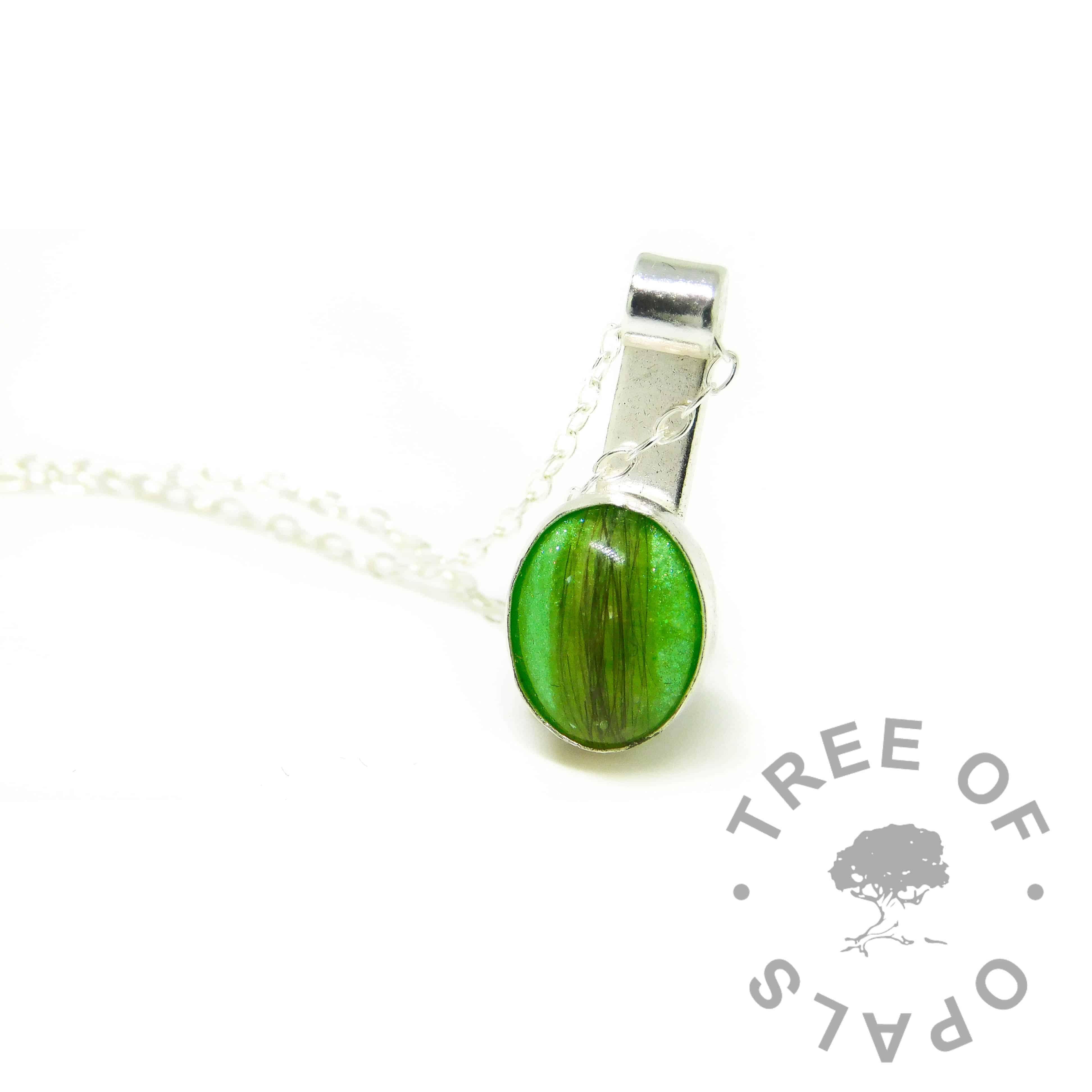 green hair mystery piece necklace, basilisk green resin sparkle mix