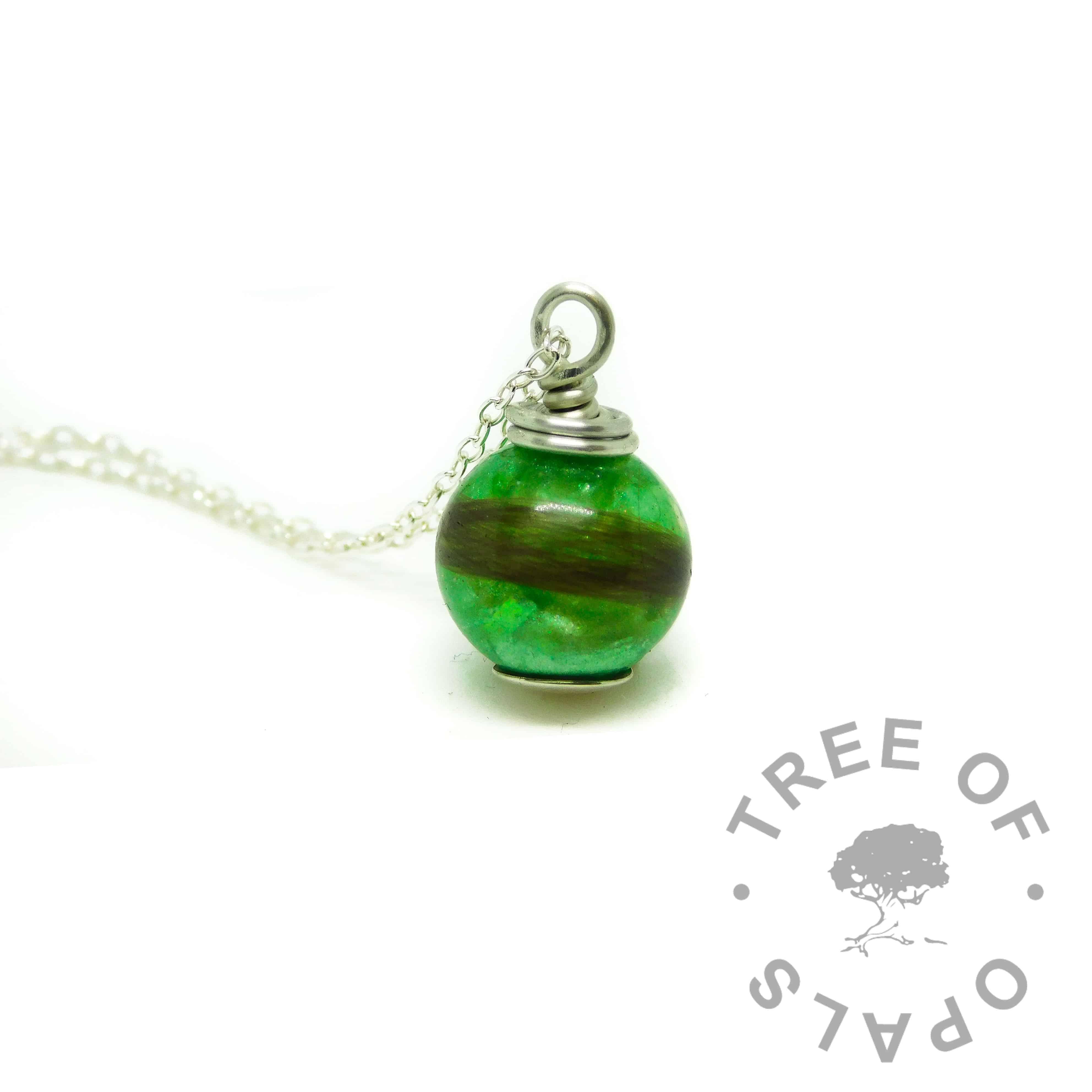 basilisk green lock of hair pearl necklace hair memorial