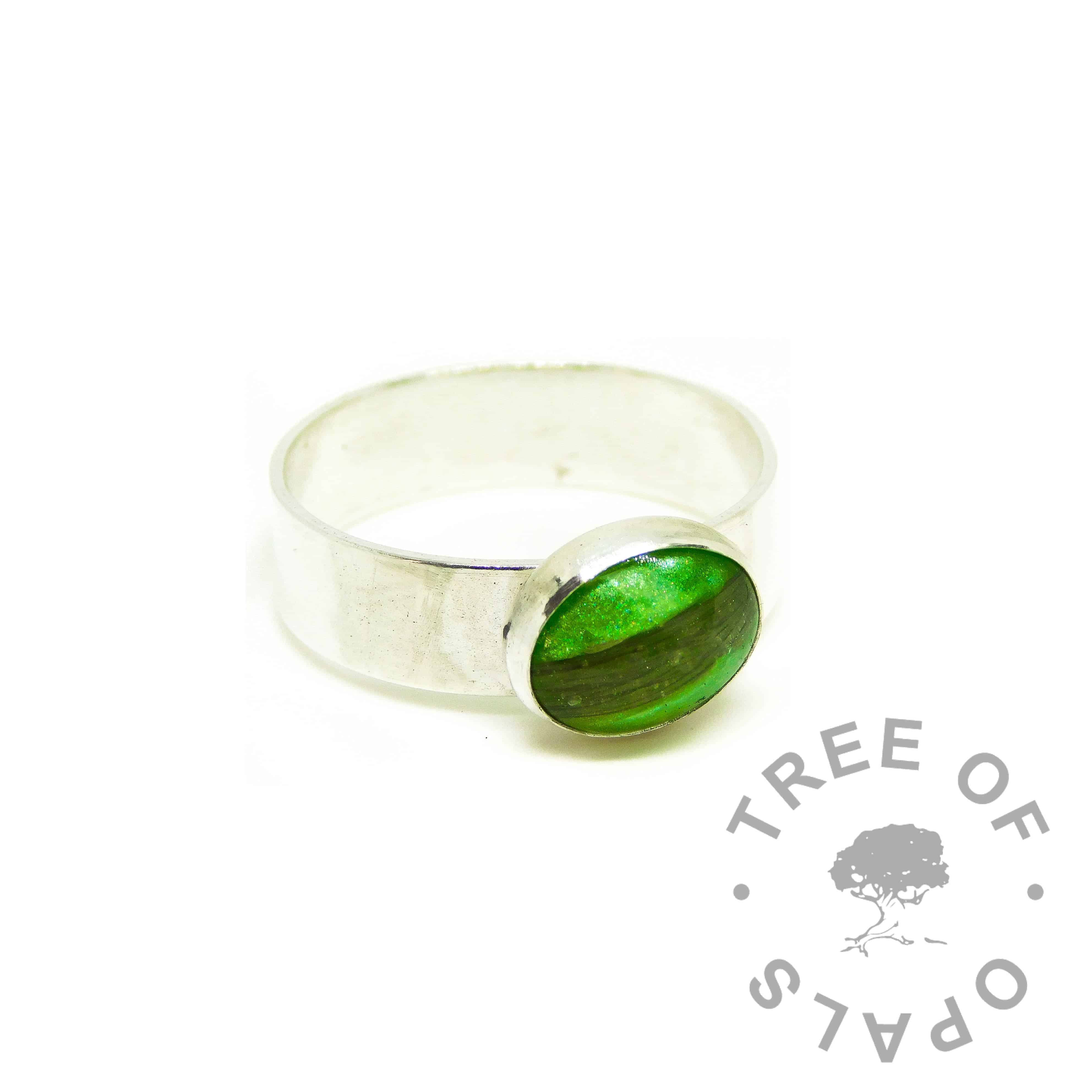 green hair ring, basilisk green resin sparkle mix, 6mm wide shiny Argentium silver band