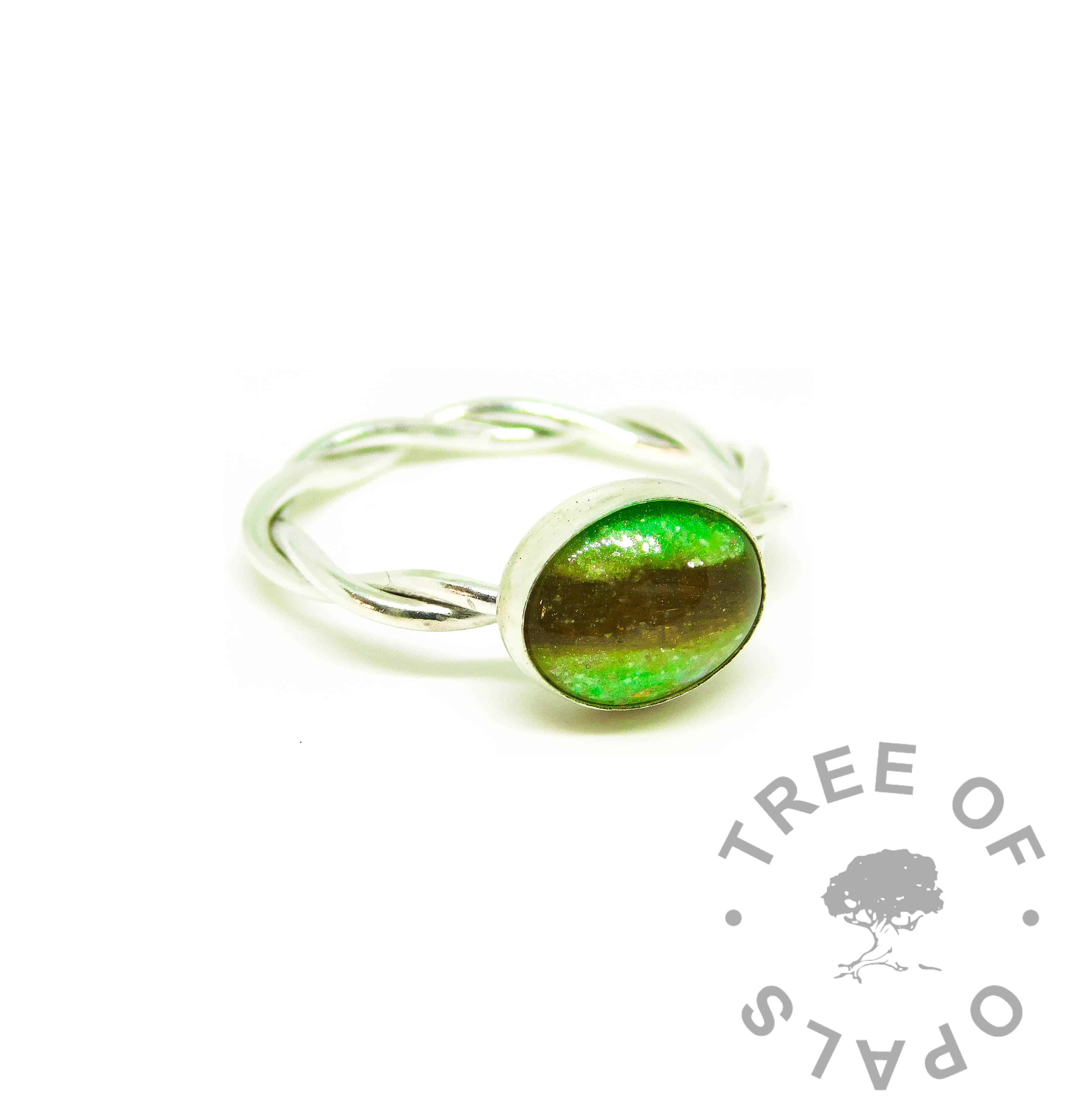 green hair ring, basilisk green resin sparkle mix, twisted wire Argentium silver band
