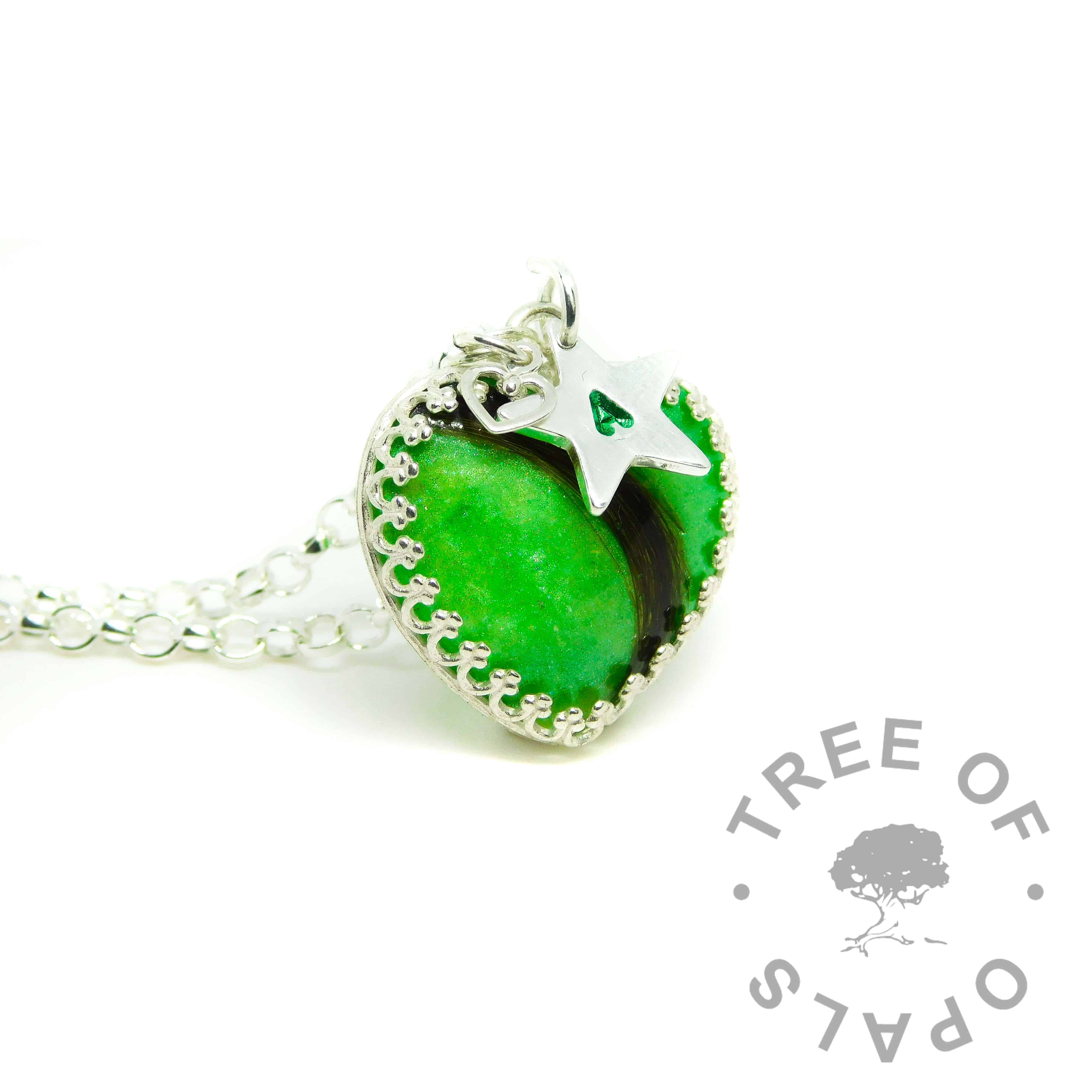 green lock of hair heart necklace with small star pendant, handstamped with a letter, medium classic chain upgrade