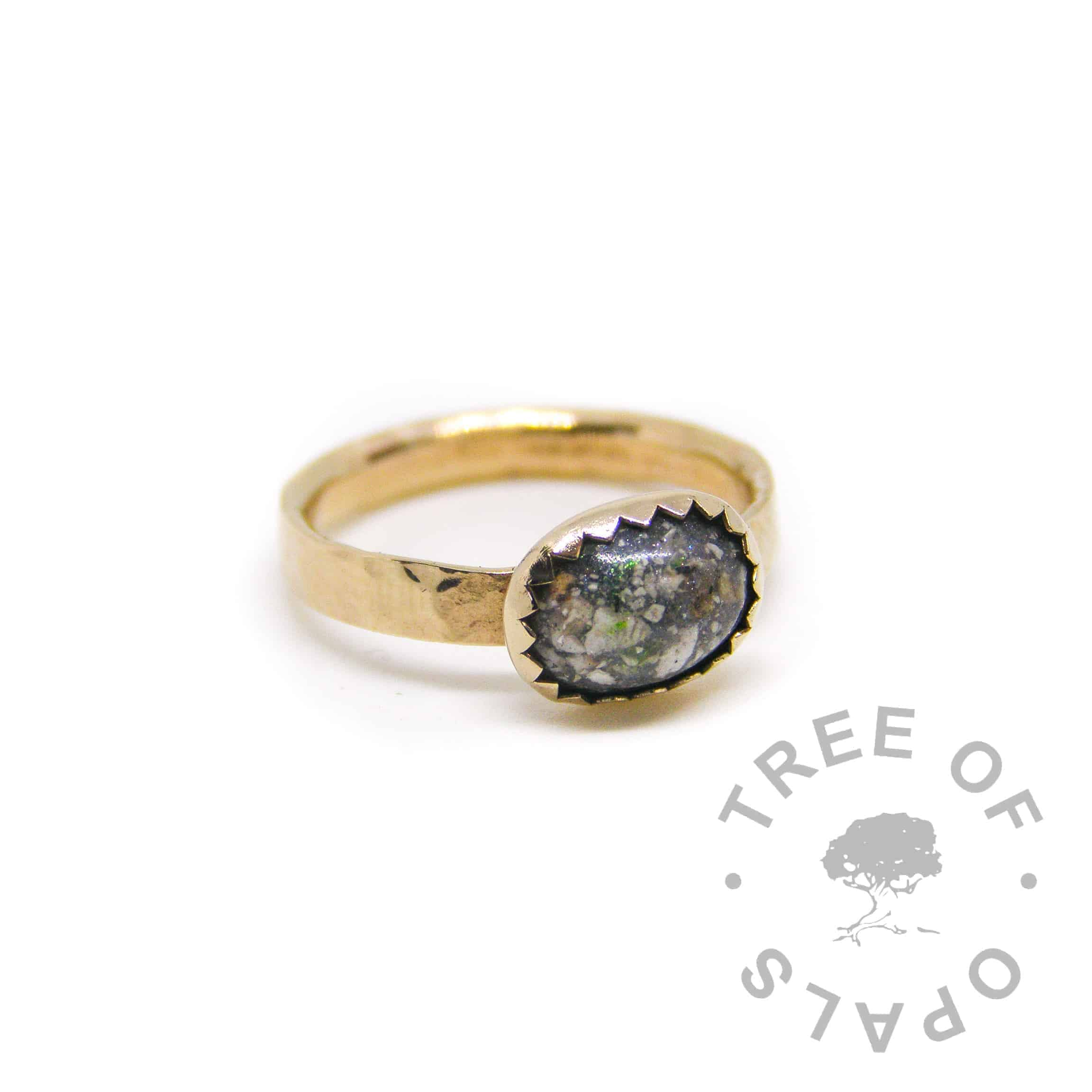 solid gold cremation ash ring textured 14ct hallmarked yellow gold stacking ring, cremation ash with basilisk green sparkle mix in an 8x6mm cabochon handmade by Tree of Opals
