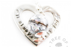 Stamped heart washer and lock of hair pearl memorial keepsake necklace