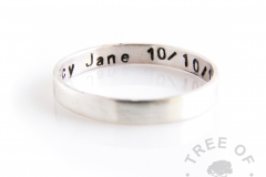 shiny 3mm stacking ring silver stamped on the inside, handmade from scratch