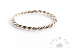 twisted wire slim stacking ring with solid sterling silver handmade