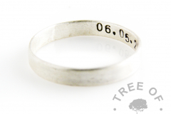 Stamped stacking ring brushed, with date of birth. Handmade from scratch by our jewellery designers using 925 #sterlingsilver and make beautiful memorial rings