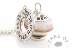 """lock of hair and breastmilk charm bead necklace and stamped necklace washer with birth coordinates, with amethyst for """"we tried our best to breastfeed"""" or February birthstone"""