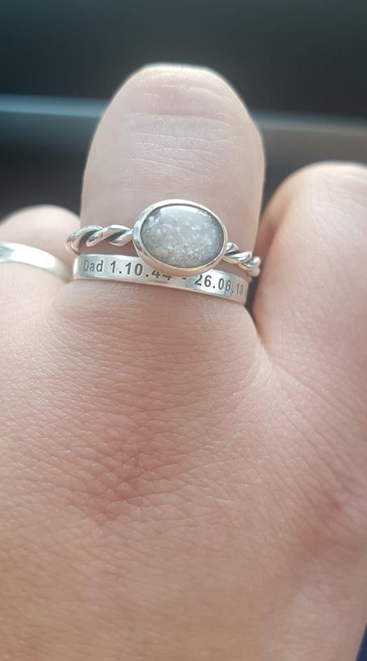 customer's own cremation ash ring with unicorn white sparkles, engraved brushed 3mm band stacking ring