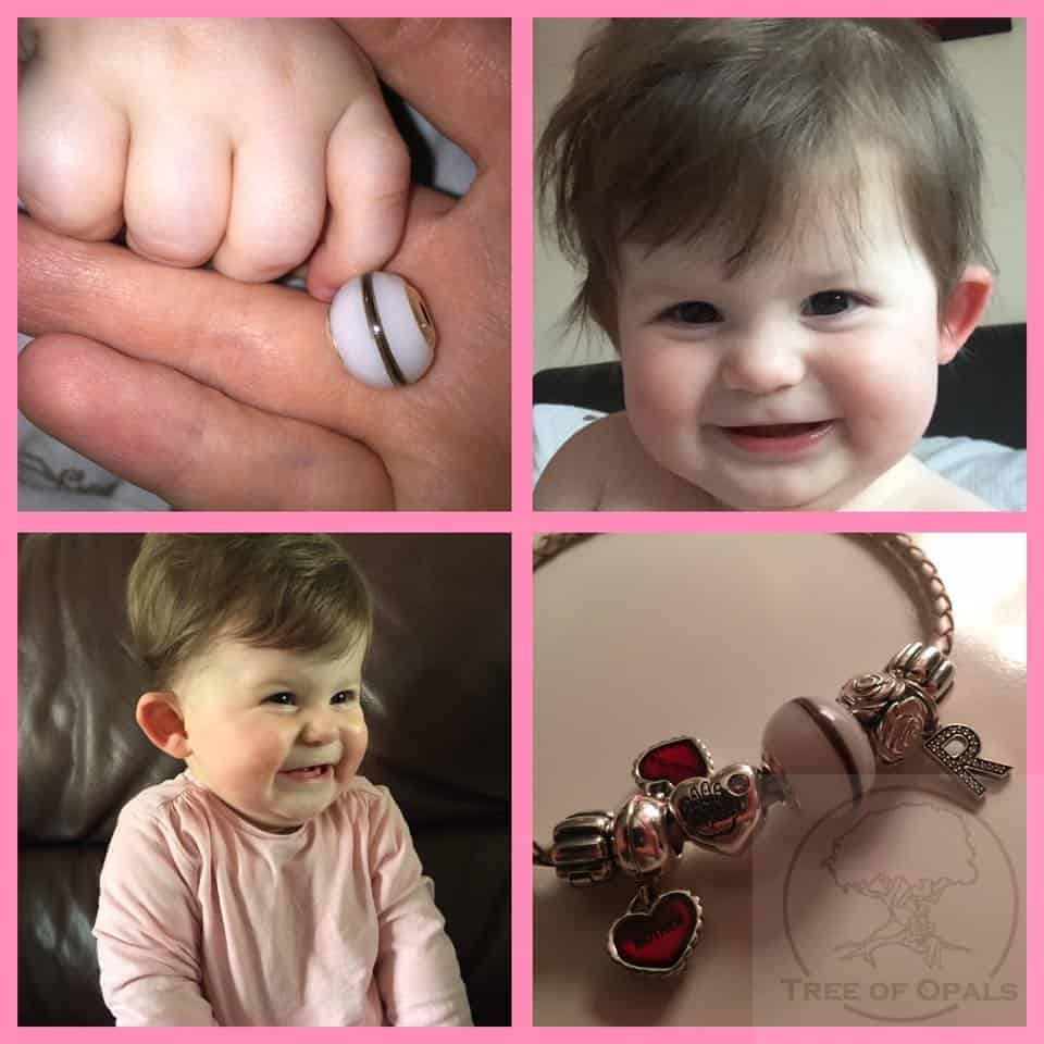 a gorgeous submission from a happy customer who ordered a breastmilk and first curl charm for her Pandora bracelet