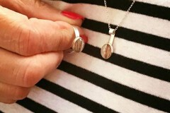 Client photo white hair pair - ring and mystery piece necklace