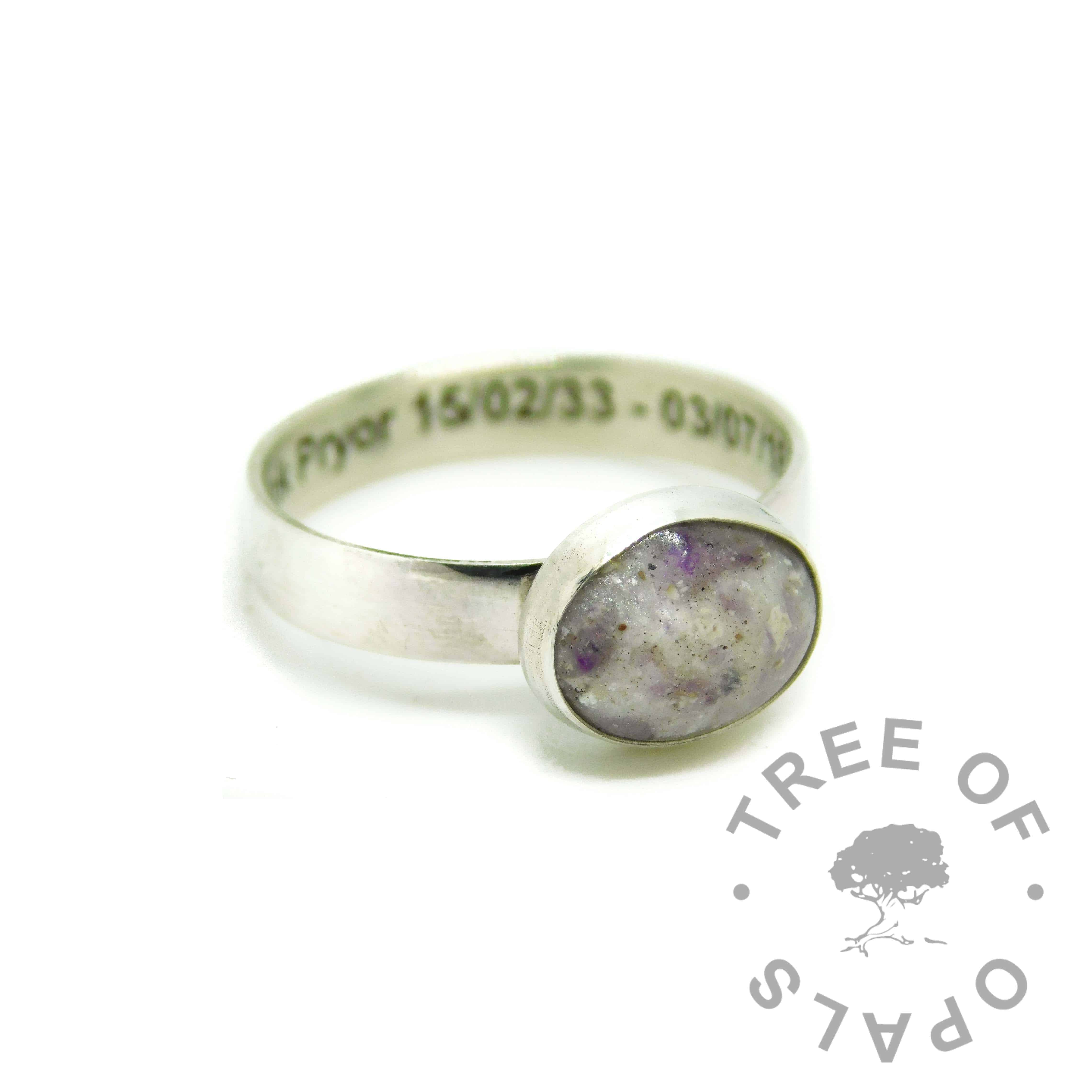 cremation ashes ring engraved on the inside in arial font. Ash and unicorn white resin sparkle mix, amethyst February birthstone
