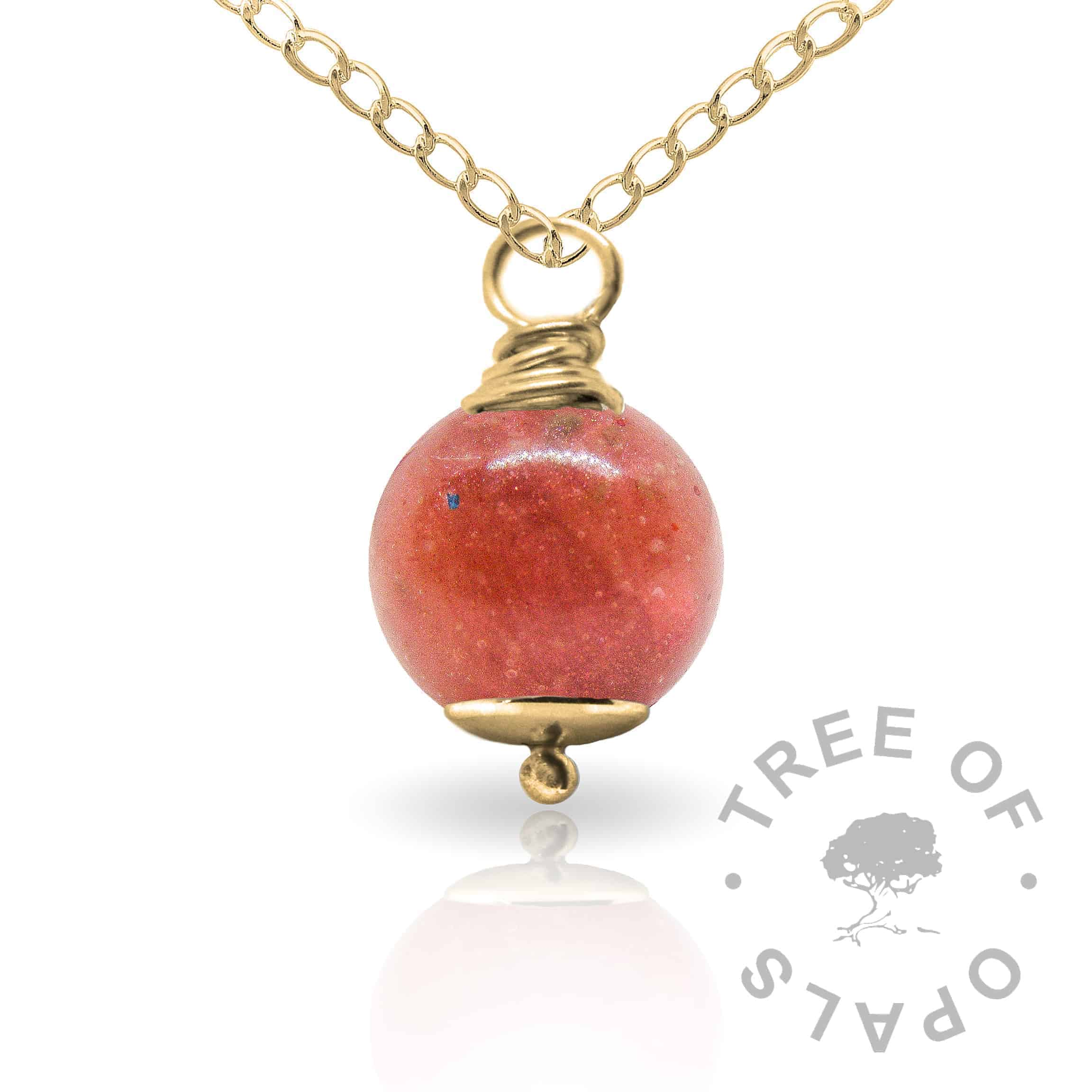 dragon's blood red gold cremation ash pearl Tree of Opals memorial jewellery