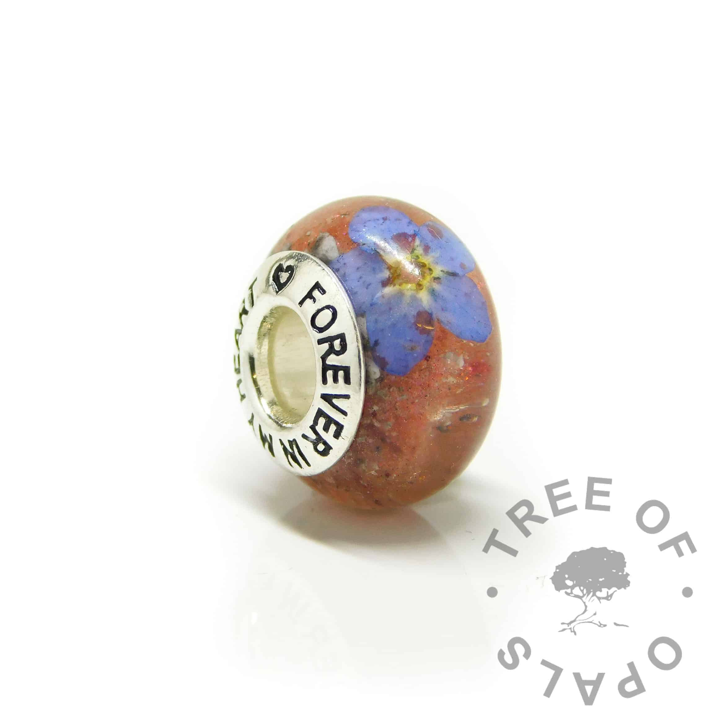 red ashes bead, forget me not, dragon's blood red resin sparkle mix with Forever In My Heart core