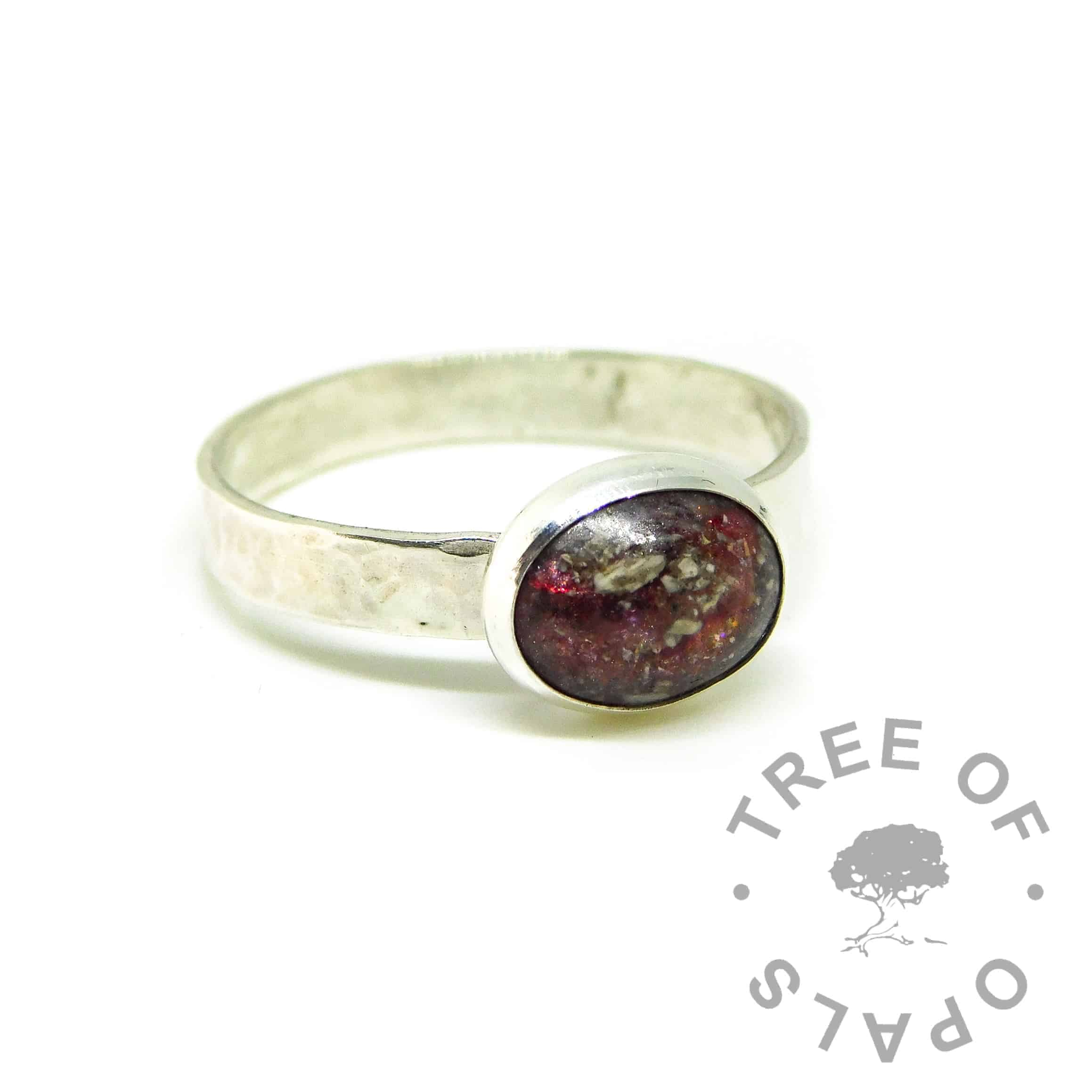 red ashes jewellery ring. Textured 3mm band with dragon's blood red resin sparkle mix