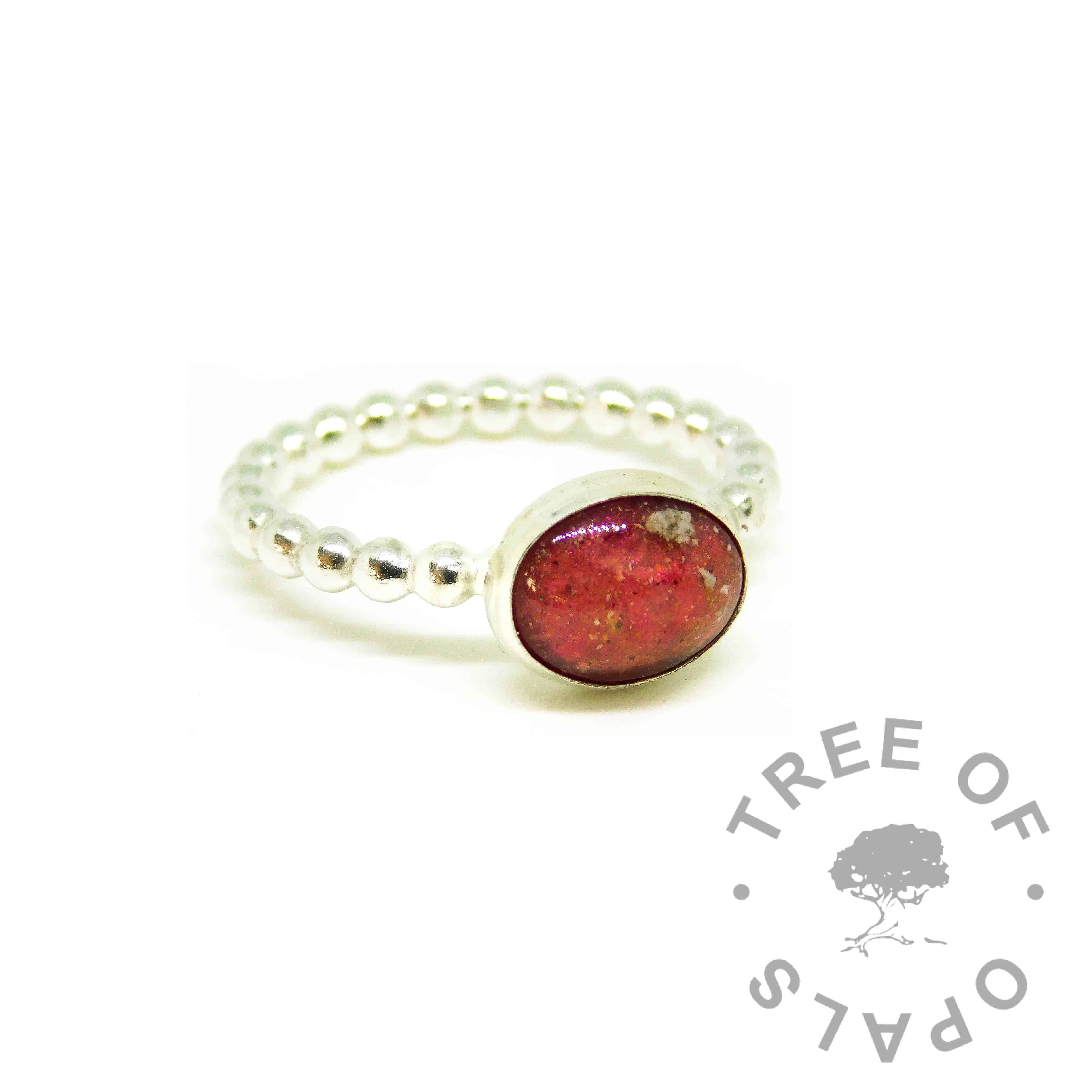 red ashes ring, dragon's blood red resin sparkle mix, bubble wire Argentium silver band