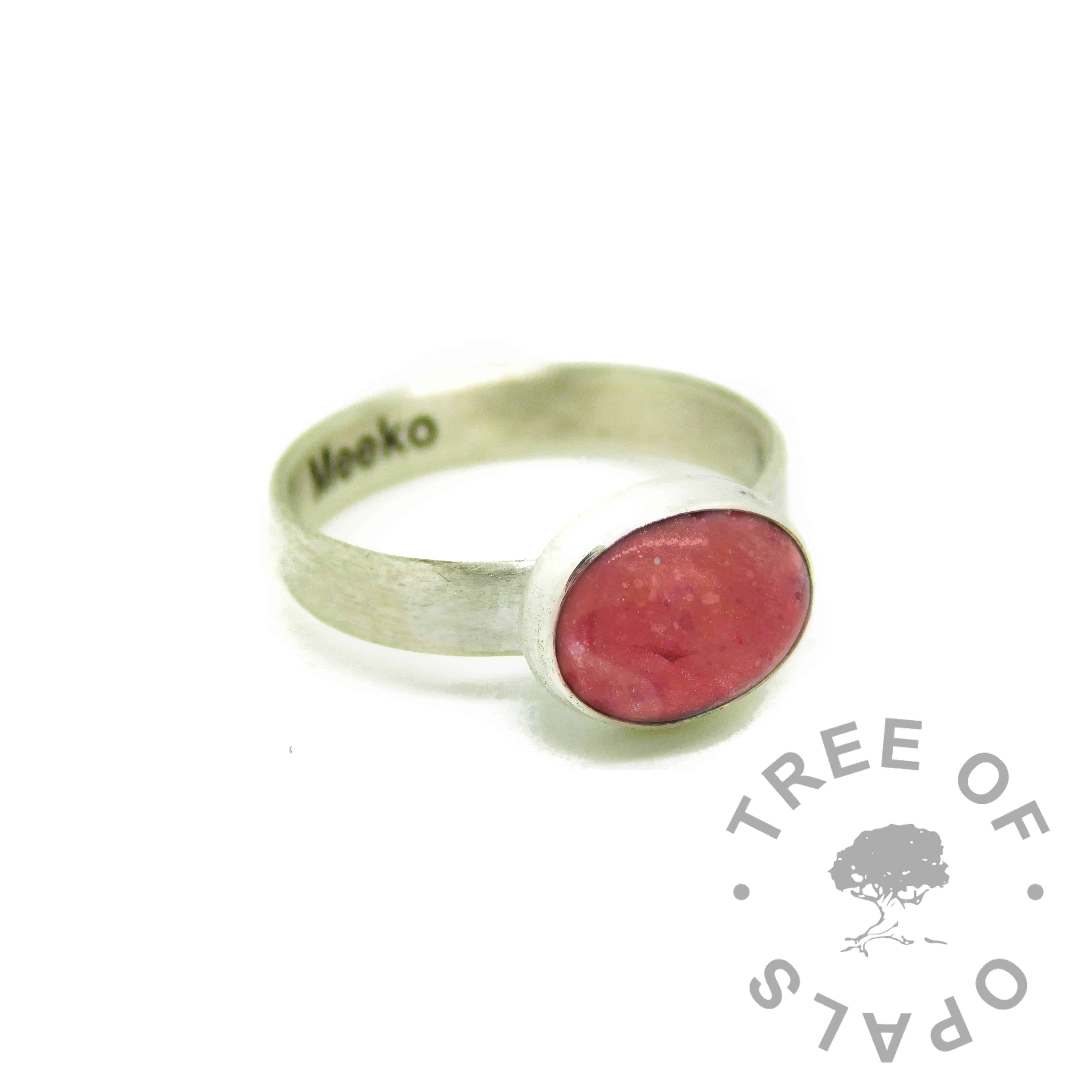 dragon's blood red resin sparkle mix cremation ash ring, engraved brushed band. Ashes ring memorial jewellery